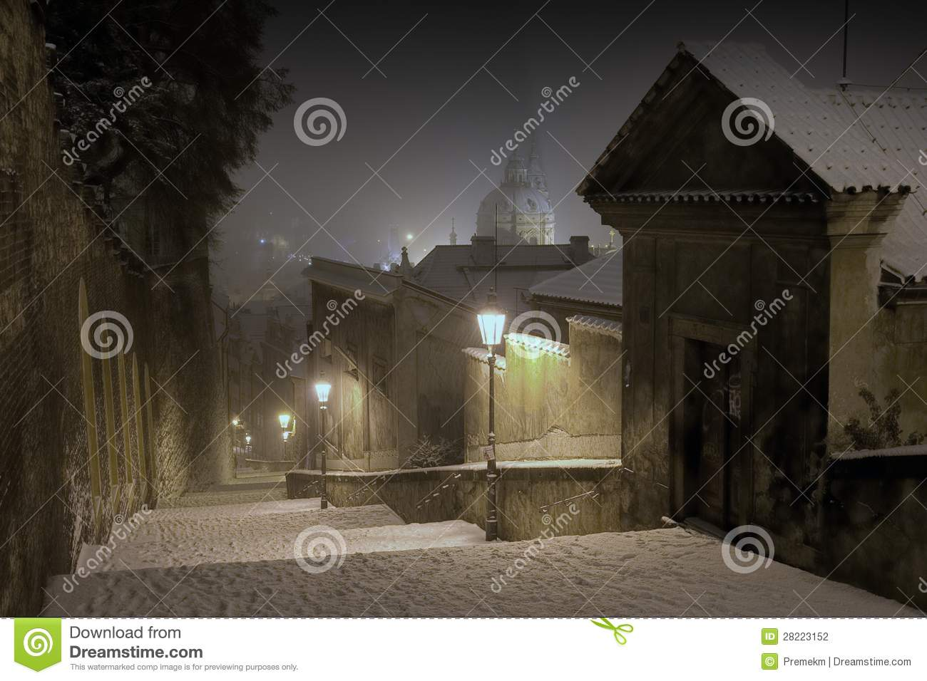 Prague Castle Stairway Leading to The Old Town of Prague in Winter Night