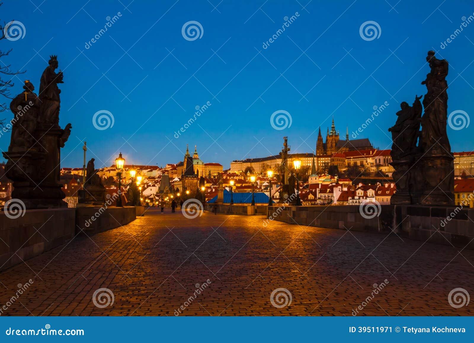Prague Charles bridge in the morning