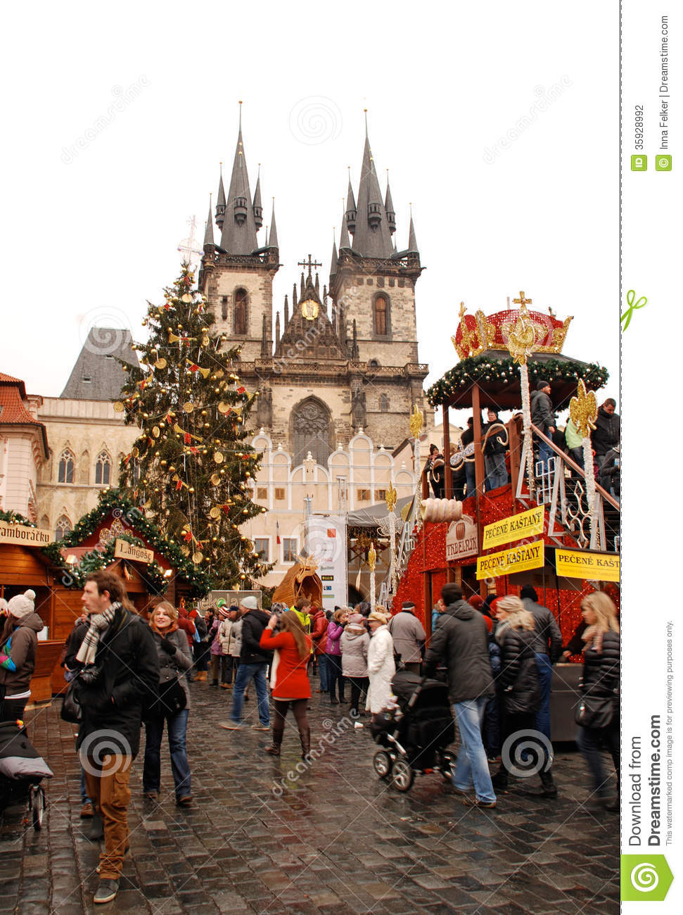 Prague Christmas Market Editorial Photography Image