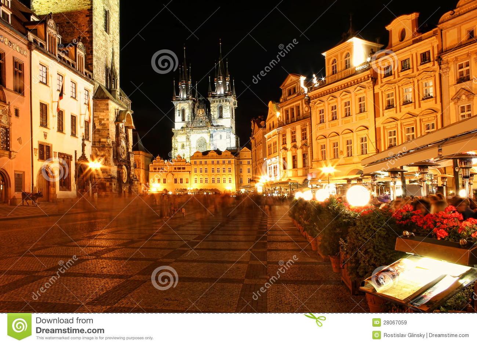 Prague city center at night royalty free stock images for Prague center
