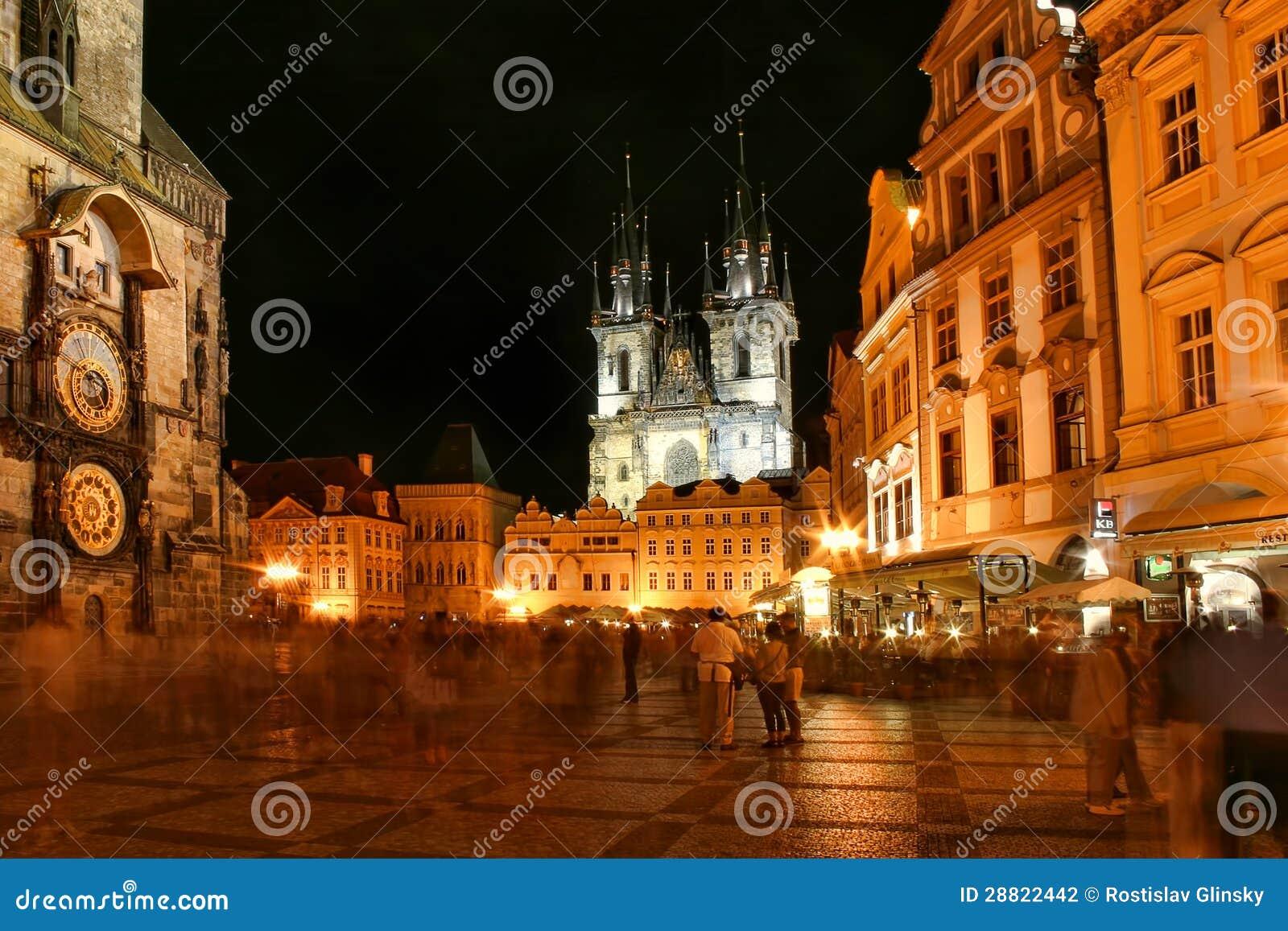Prague city center at night editorial photography image for Prague center