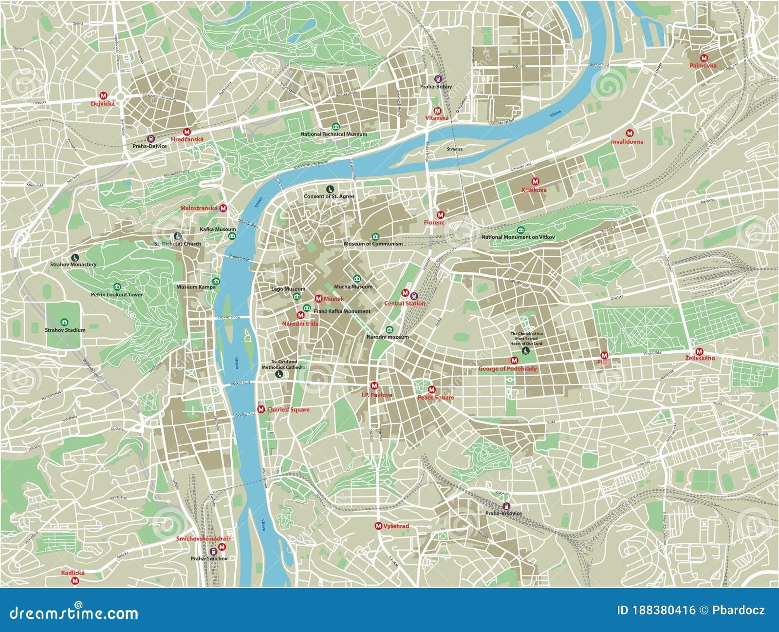 English prague metro map Prague map