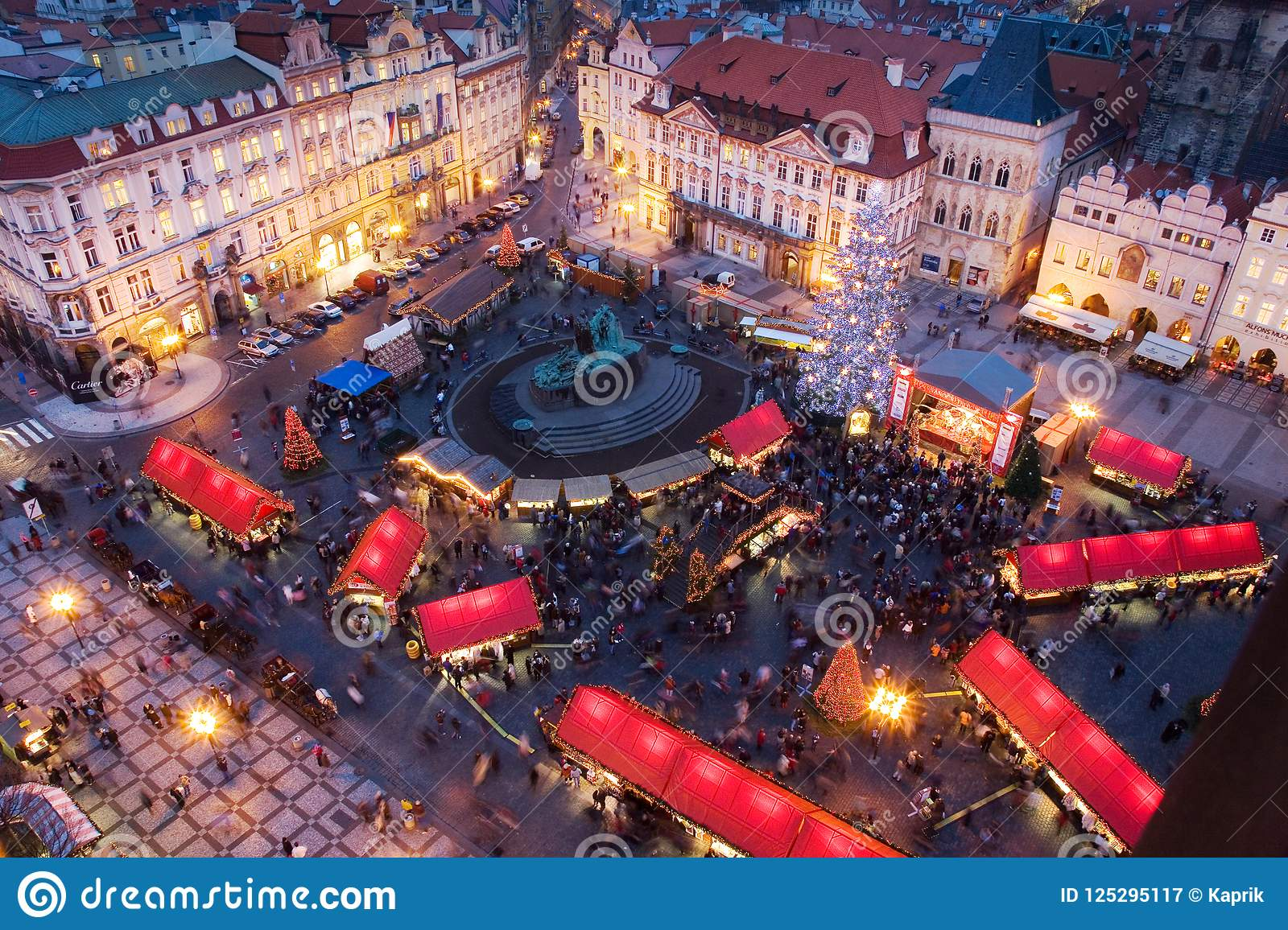 Prague Christmas Market.Prague Christmas Market On Old Town Square With Gothic Tyne