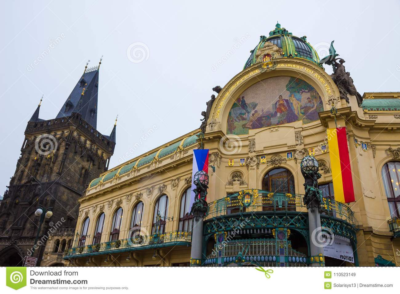 Prague, Czech Republic - December 31, 2017: The facade of old house and old architecture in old town
