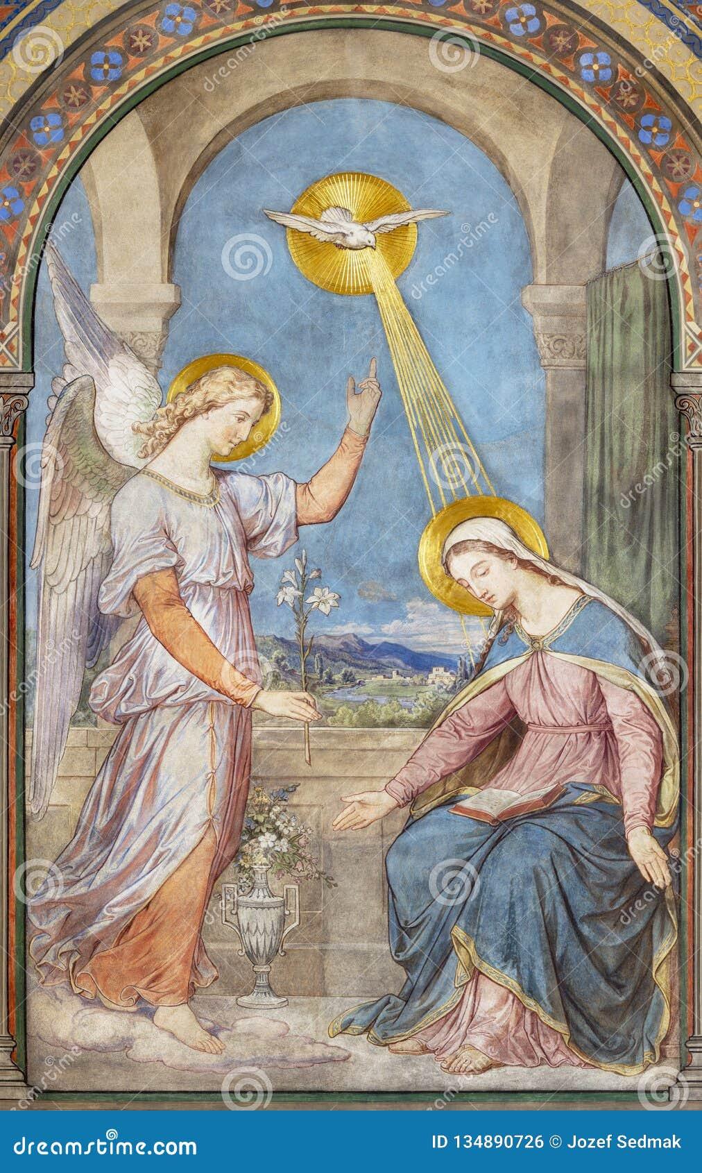 PRAGUE, CZECH REPUBLIC - 2018: The fresco of Annunciation in the church kostel Svatého Cyrila Metodeje by Petr Maixner
