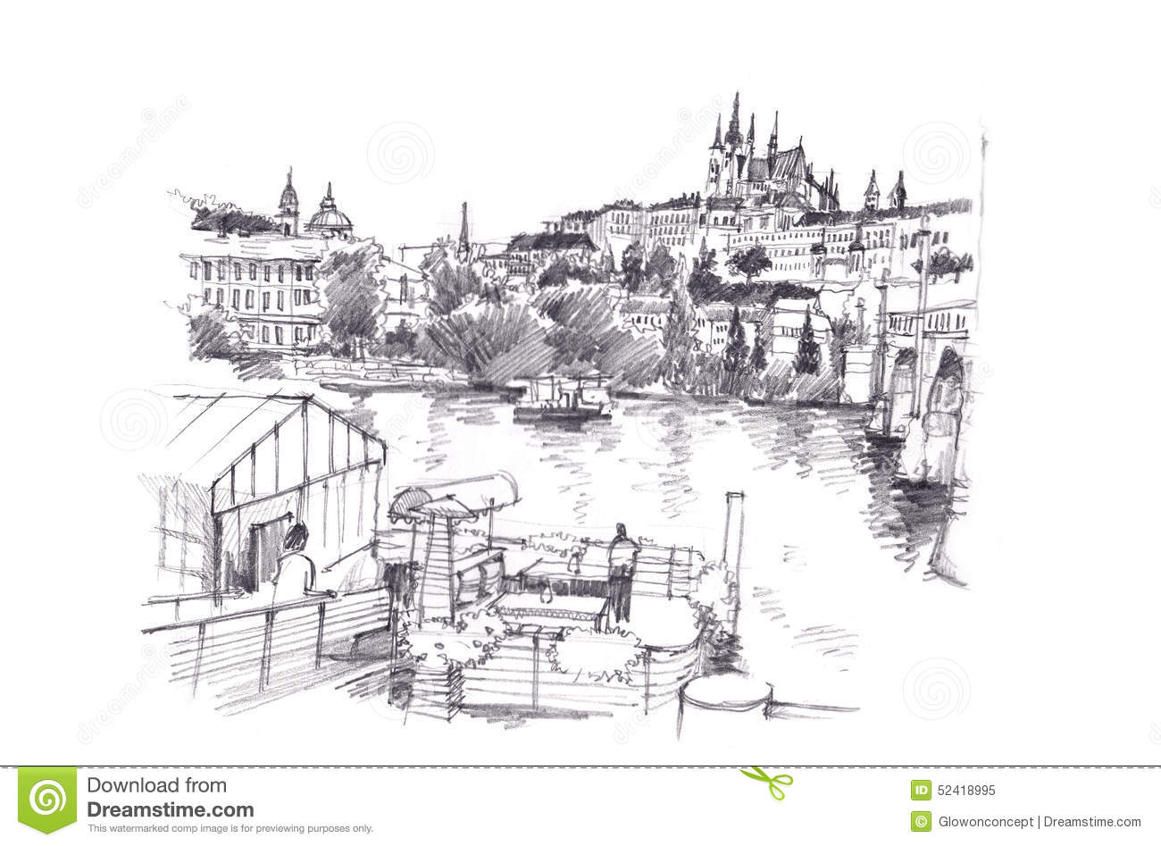 Prague Czech Republic Hand Pencil Drawing Stock