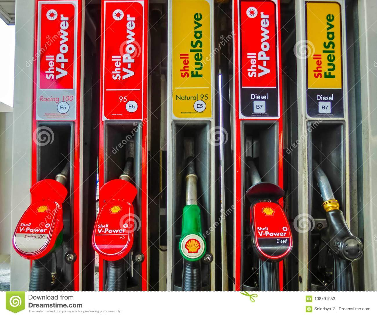 Prague, Czech Republic - January 2, 2018: Filling nozzles at a Shell gas station.