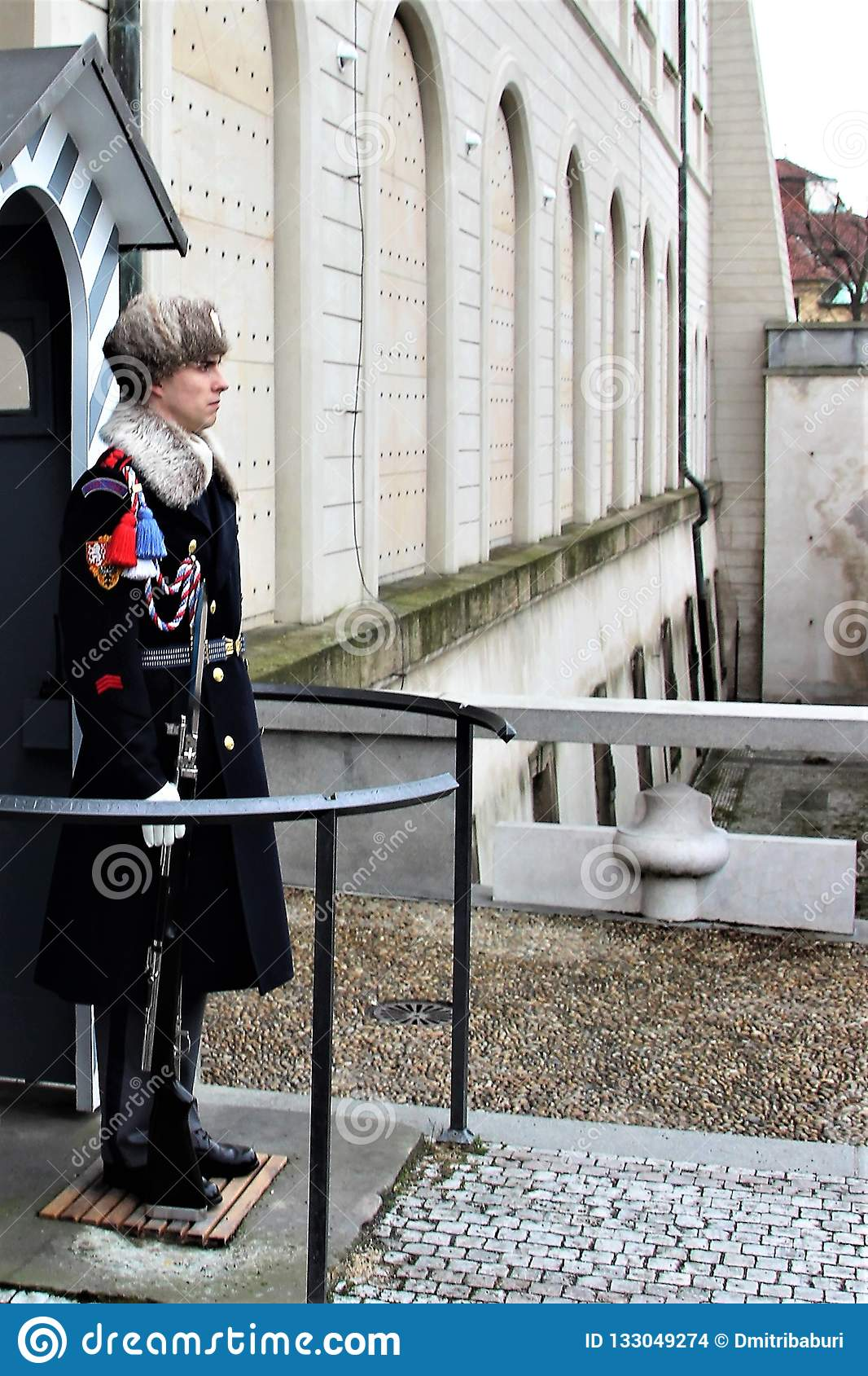 Prague, Czech Republic, January 2015. A soldier of the Czech Guard at the post of the royal palace.