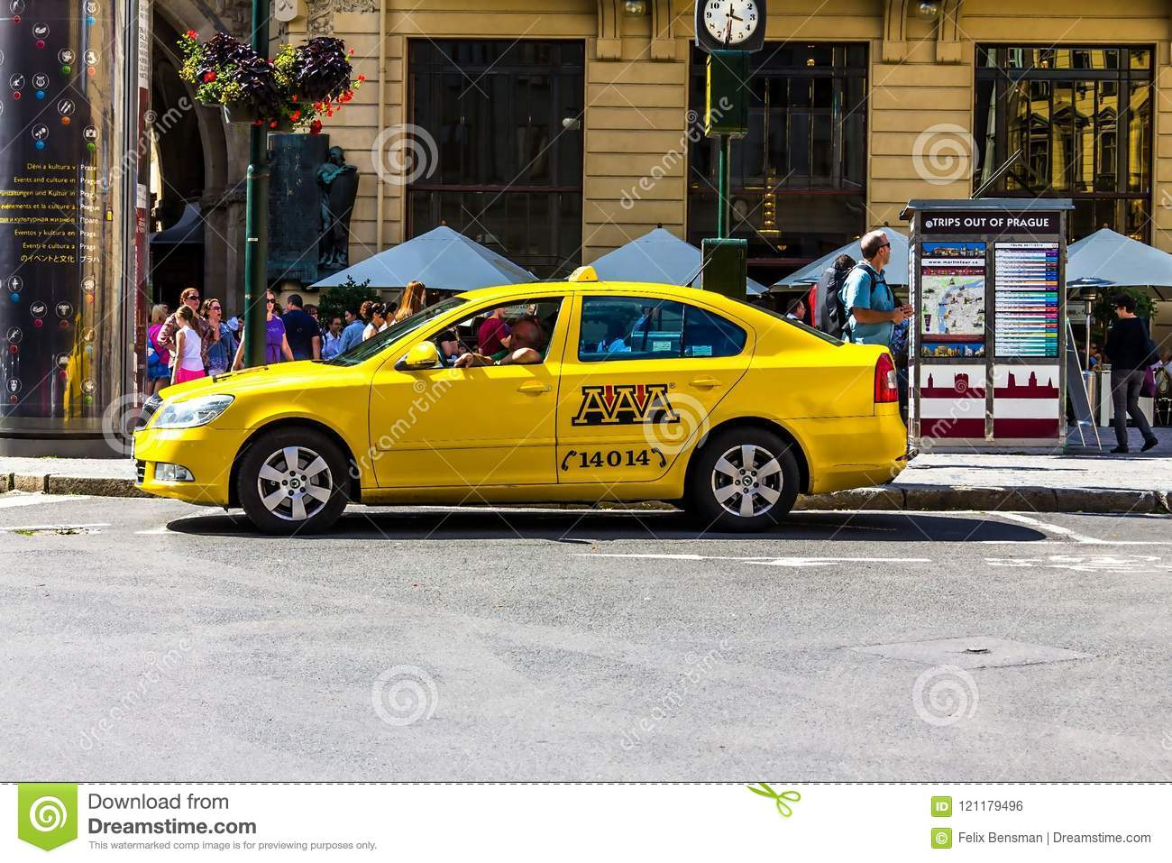Yellow Skoda Taxi Car Parked On Street Editorial Photo Image Of