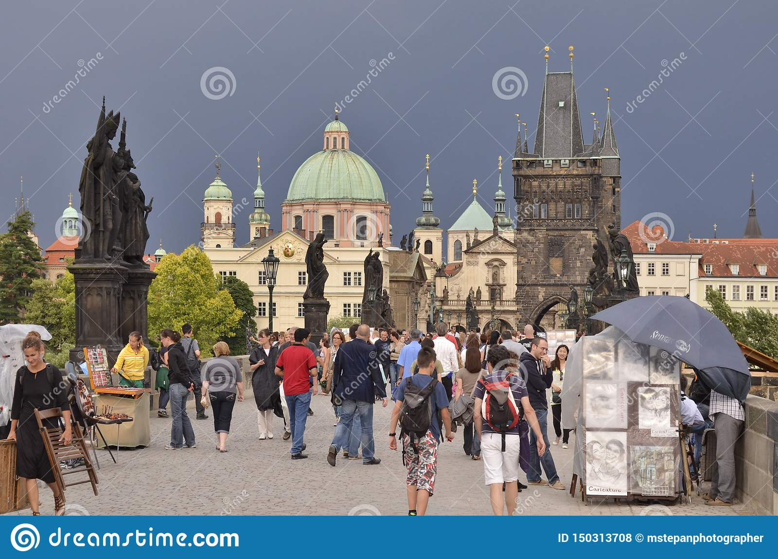 Tourists in Old Town Prague Czech Republic
