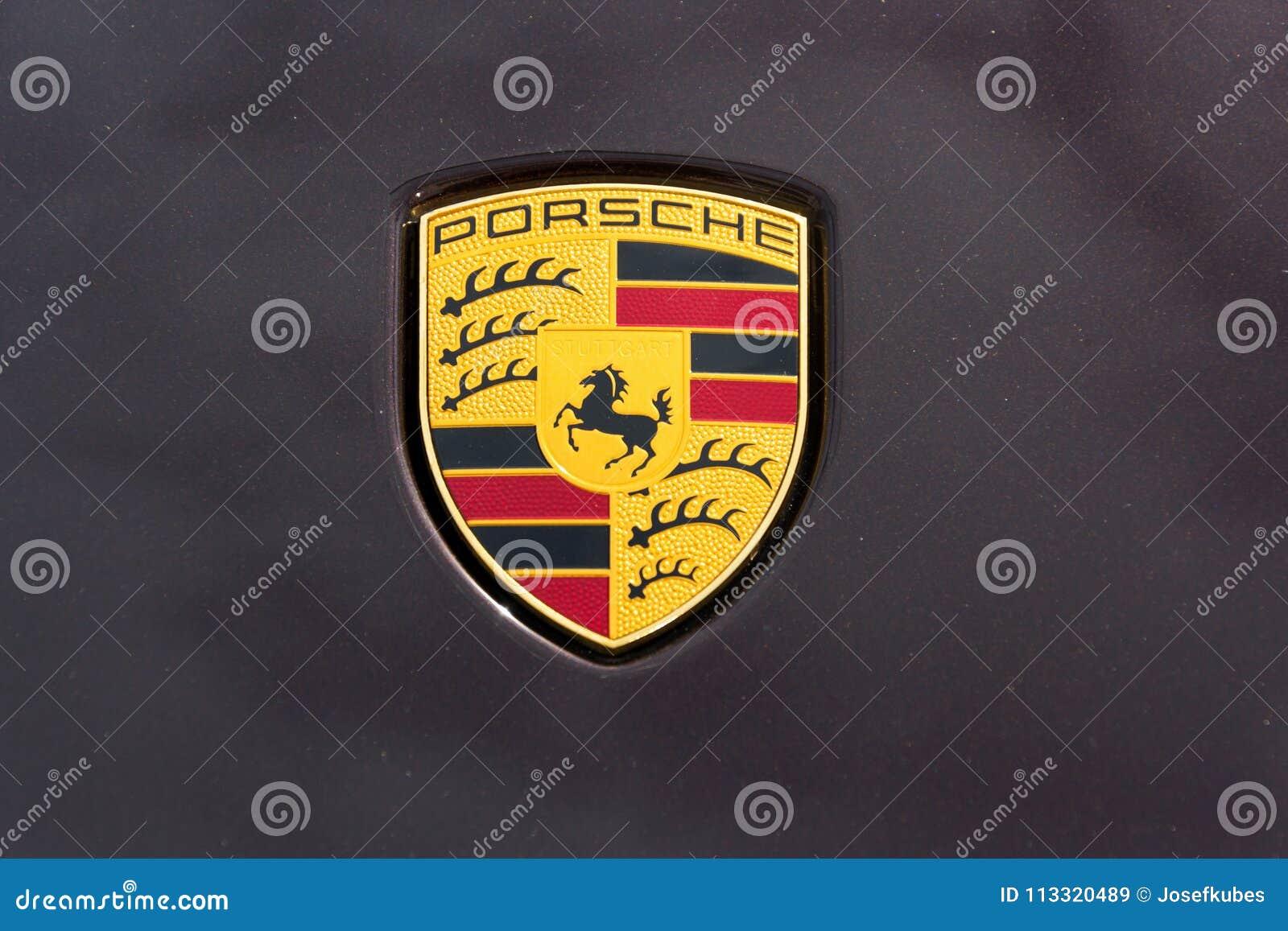 Porsche Automotive Company Logo On Car Bonnet Editorial Stock Image