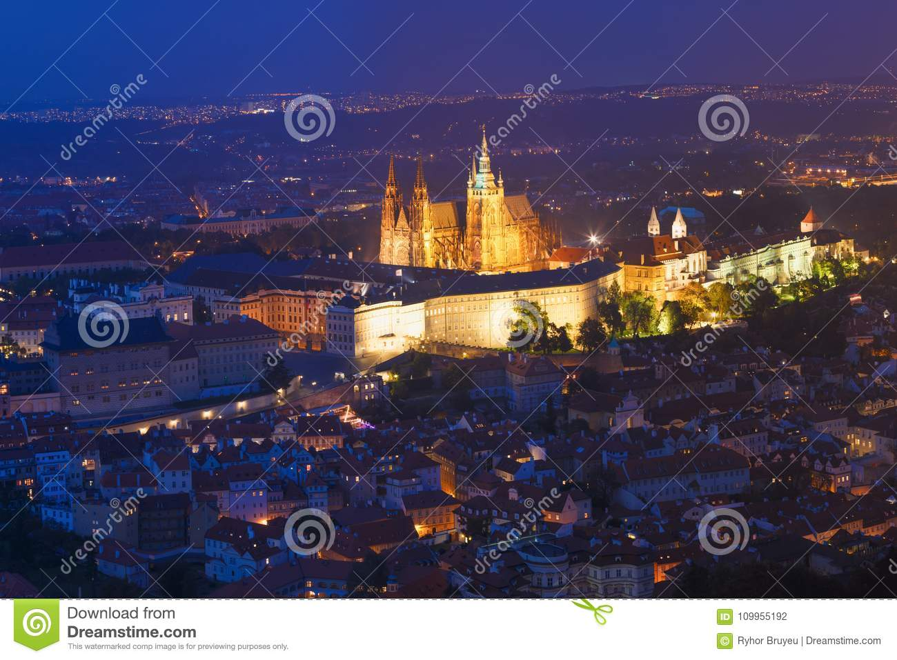 Prague, Czech Republic. Night View Of Prague Castle, St. Vitus Cathedral. Lesser Town, Prague Castle In Night Lighting