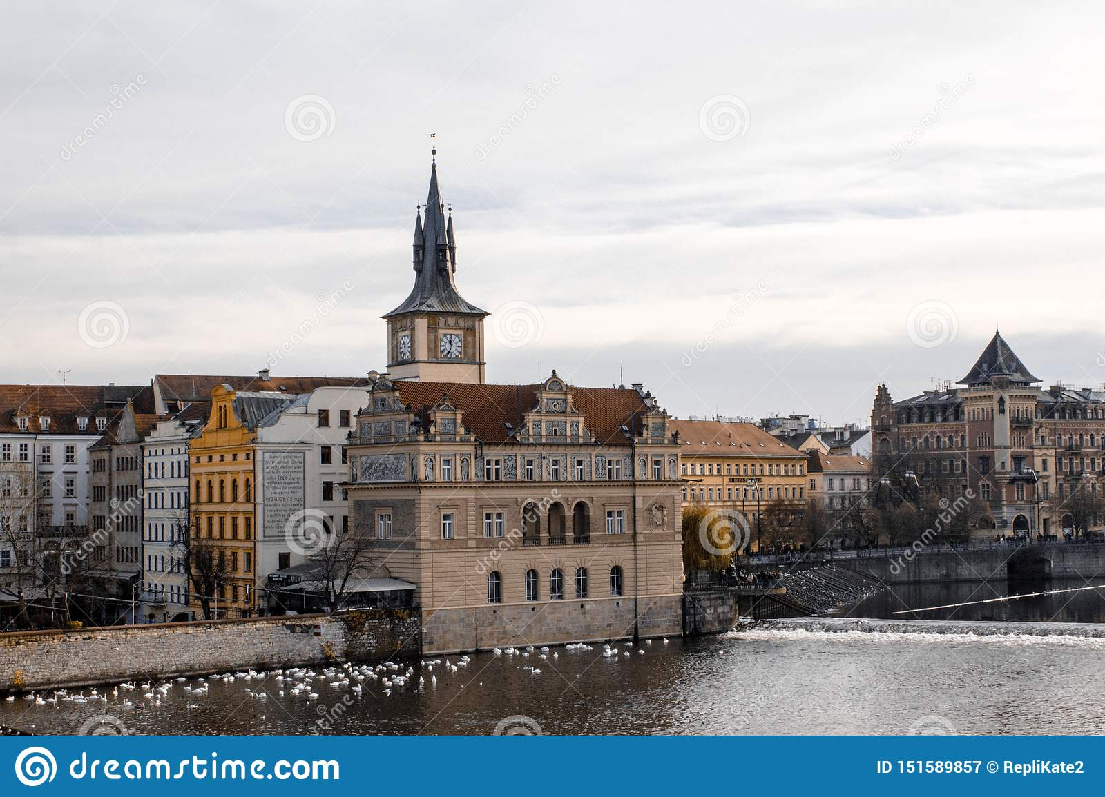 Prague.Czech Republic. 2016, November. Beautiful view of old Prague and Vltava river on a cloudy day. Swans by the river in Prague