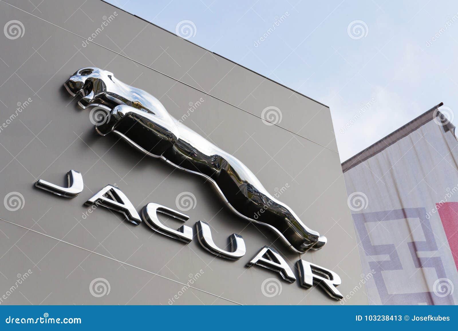 Jaguar Car Manufacturer Company Logo In Front Of Dealership