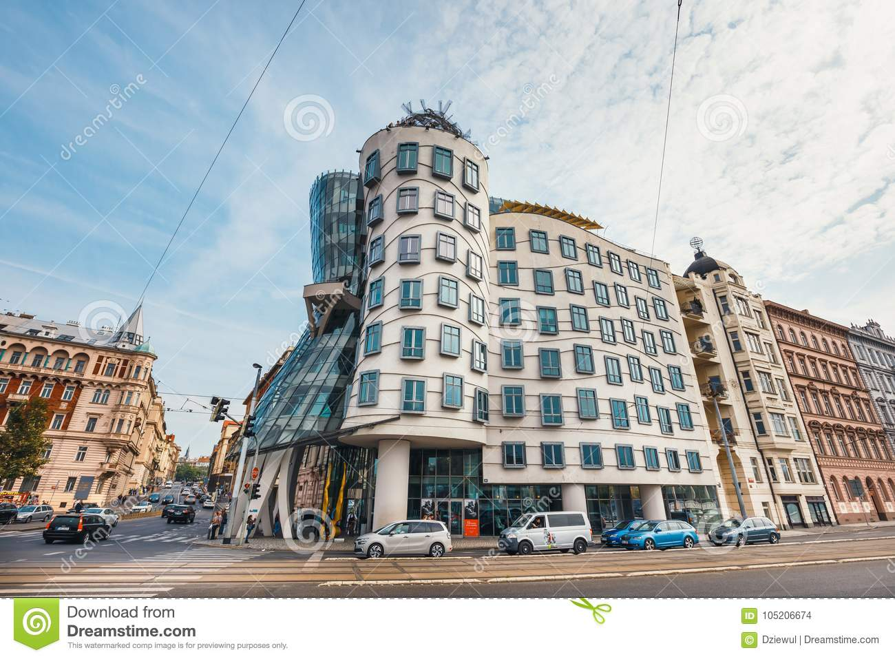 Dancing House - modern building designed by Vlado Milunic and Frank O. Gehry, Prague