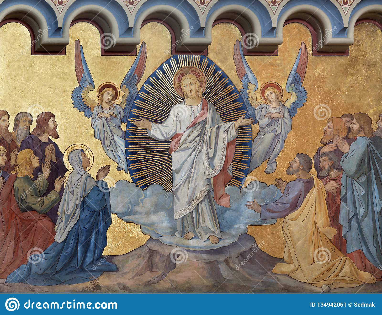 PRAGUE, CZECH REPUBLIC - OCTOBER 17, 2018: The fresco of Ascension of the Lord the in church kostel Svatého Cyrila Metodeje