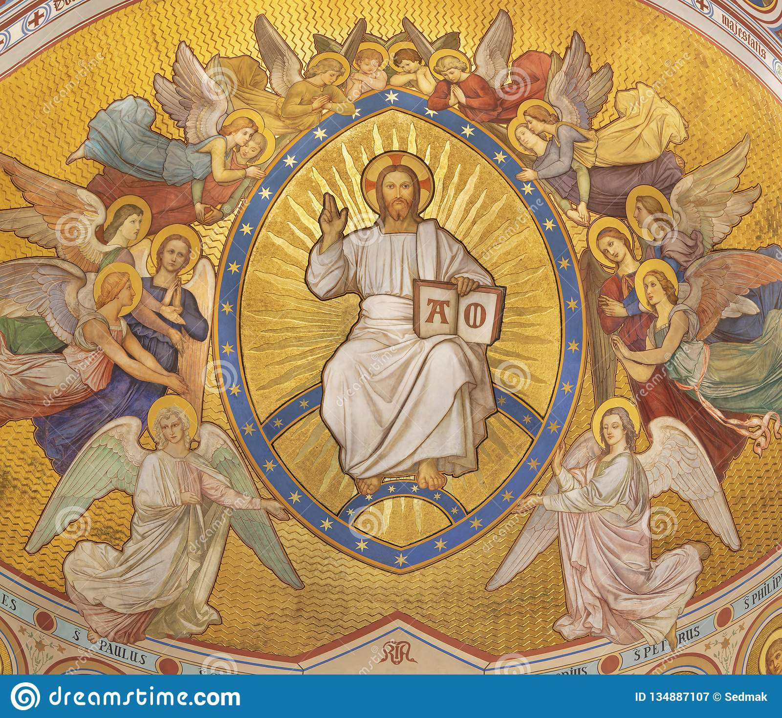 PRAGUE, CZECH REPUBLIC - OCTOBER 17, 2018: The fresco of Christ the Pantokrator among the angels