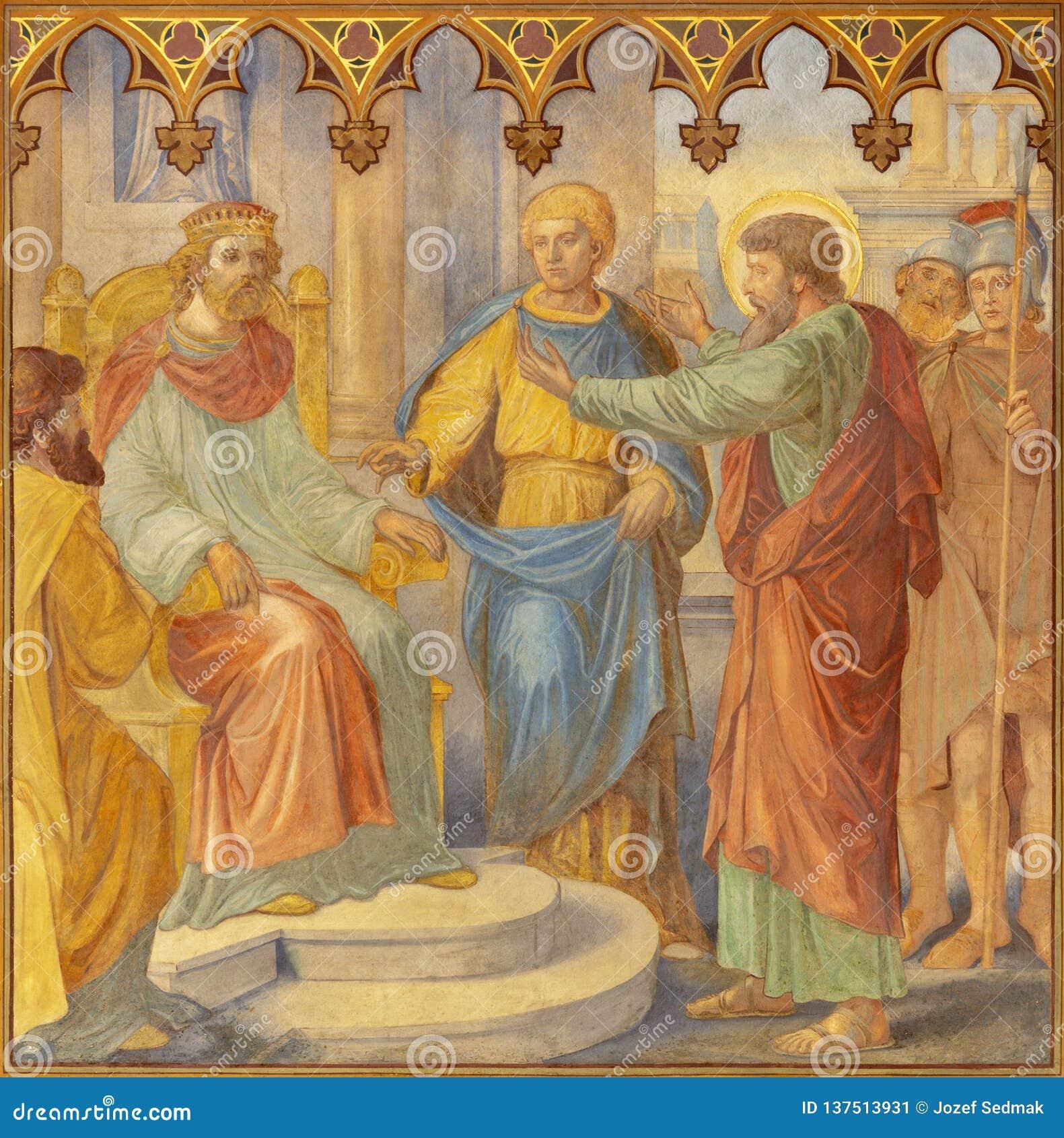 PRAGUE, CZECH REPUBLIC - OCTOBER 15, 2018: The fresco judgment of St. Paul before Agripa in church Bazilika svatého Petra a Pavla