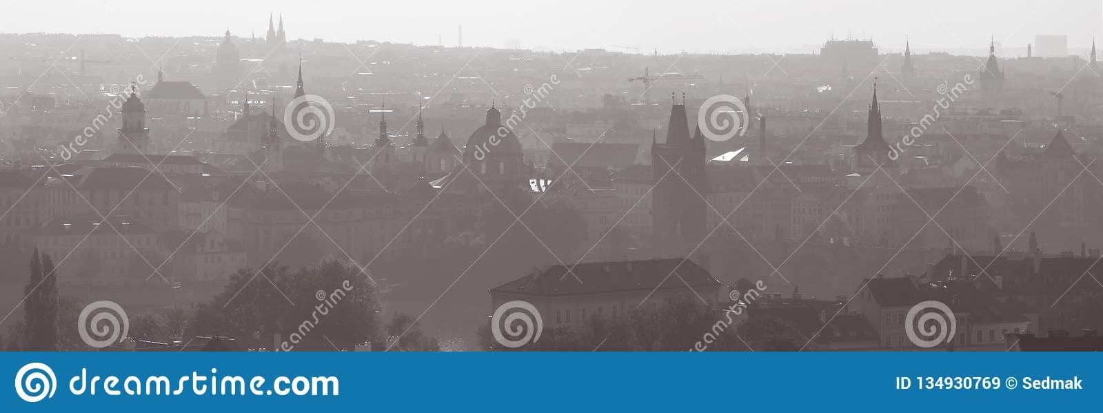 Prague - Panorama of the town from castle in the backlight