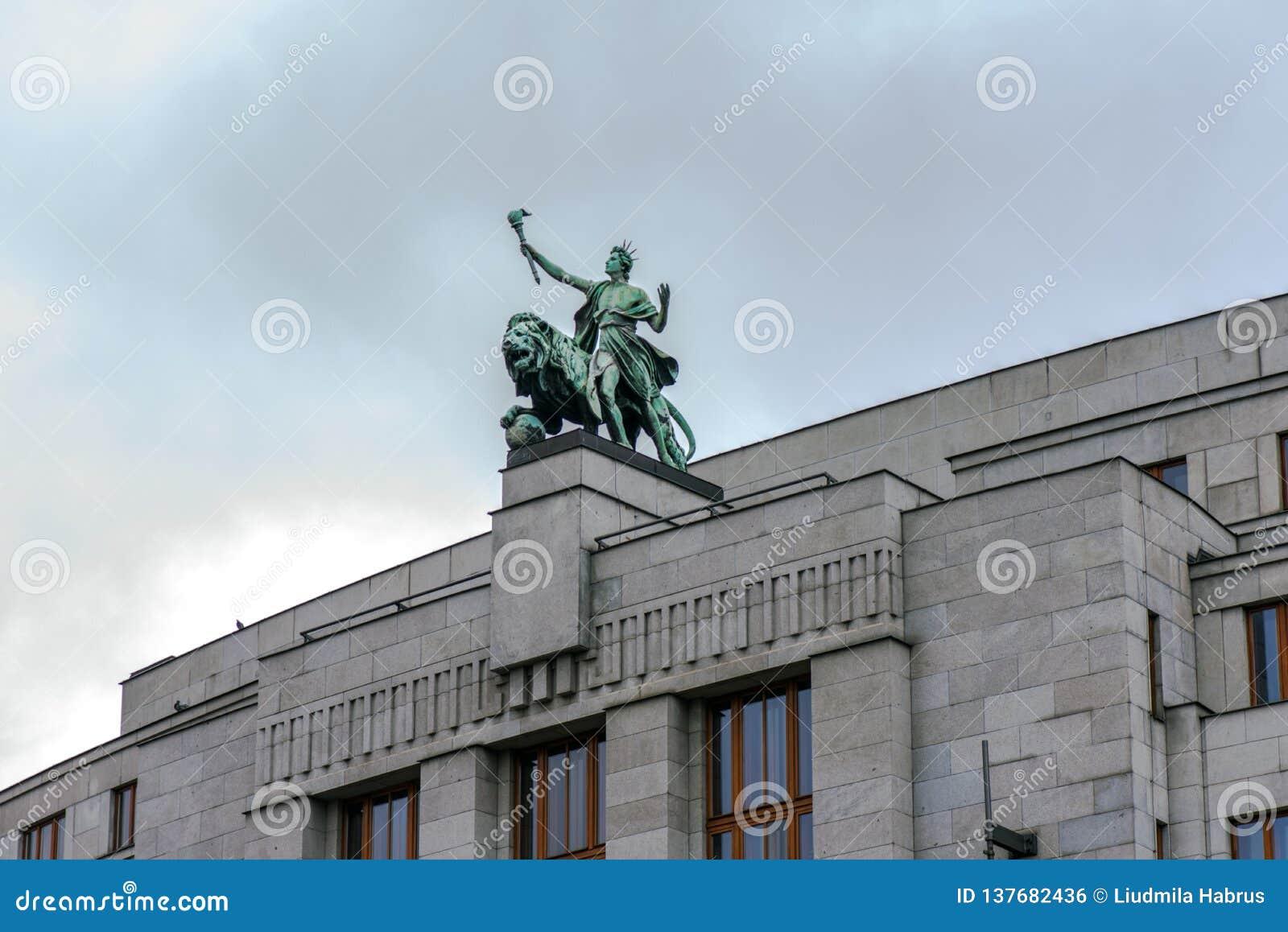 Prague, Czech Republic . Sculpture at the Czech National Bank