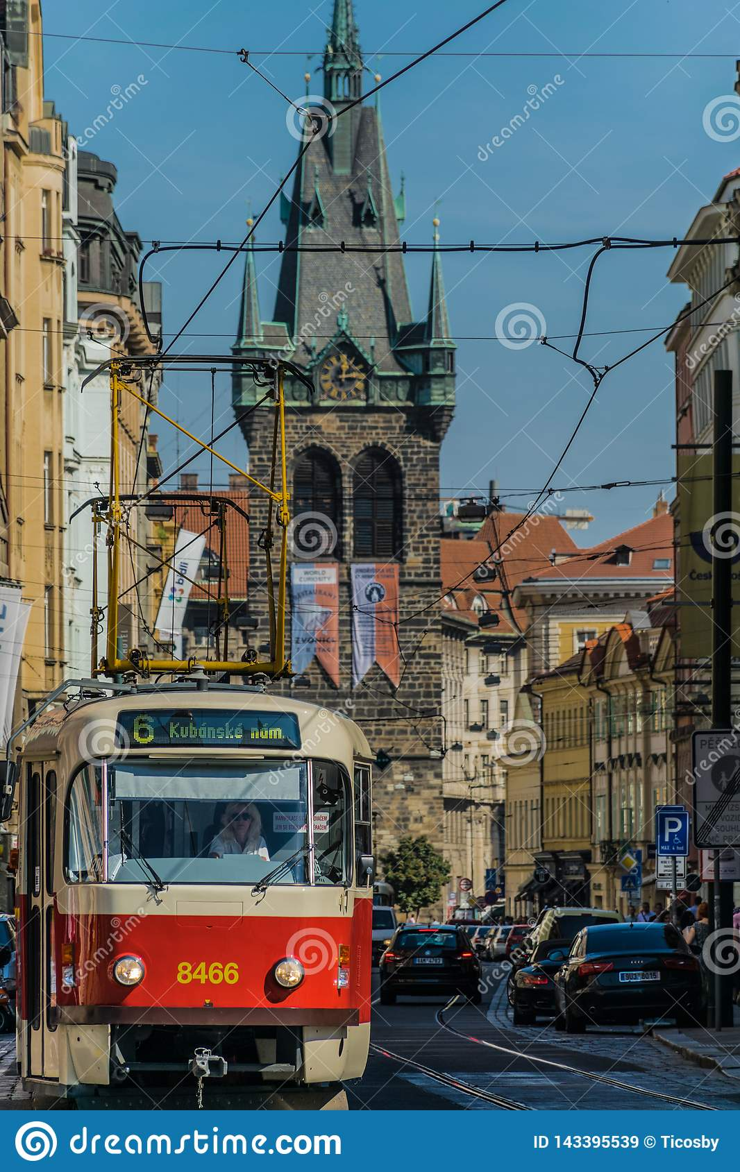 Prague, Czech Republic - September , 17, 2019: Female Driver of a Retro tram at old town of Prague, with henry`s tower