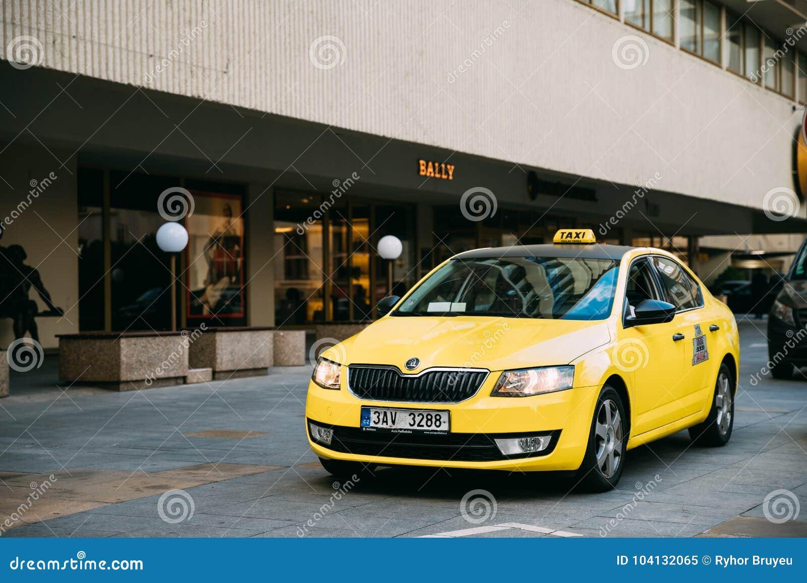 Prague Czech Republic Yellow Skoda Octavia Iii Taxi Car Parked