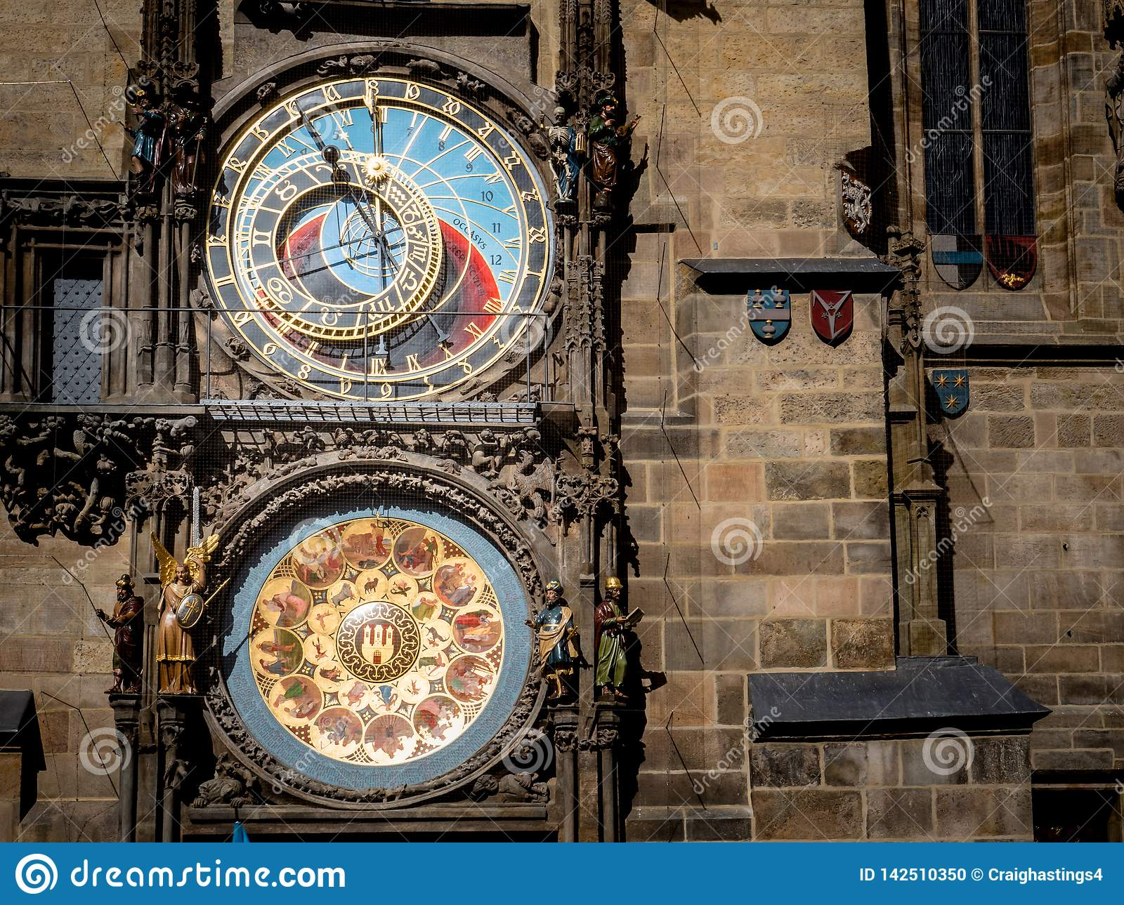 Prague Czechia View of Iconic Astrological Clock Tower Face