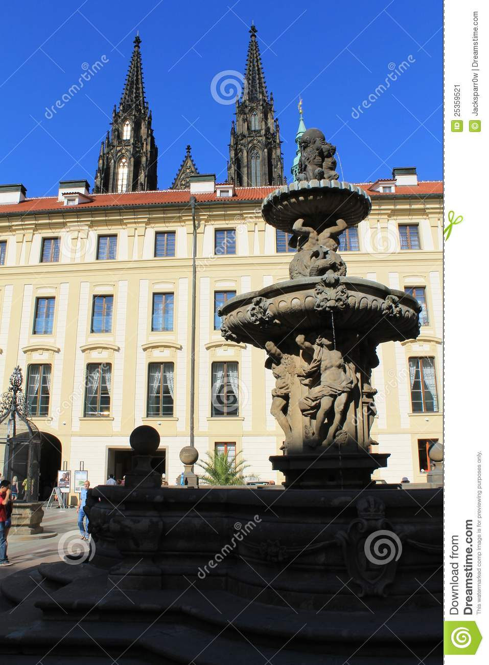 Prague fountain at prague castle editorial photo image for Where is prague near