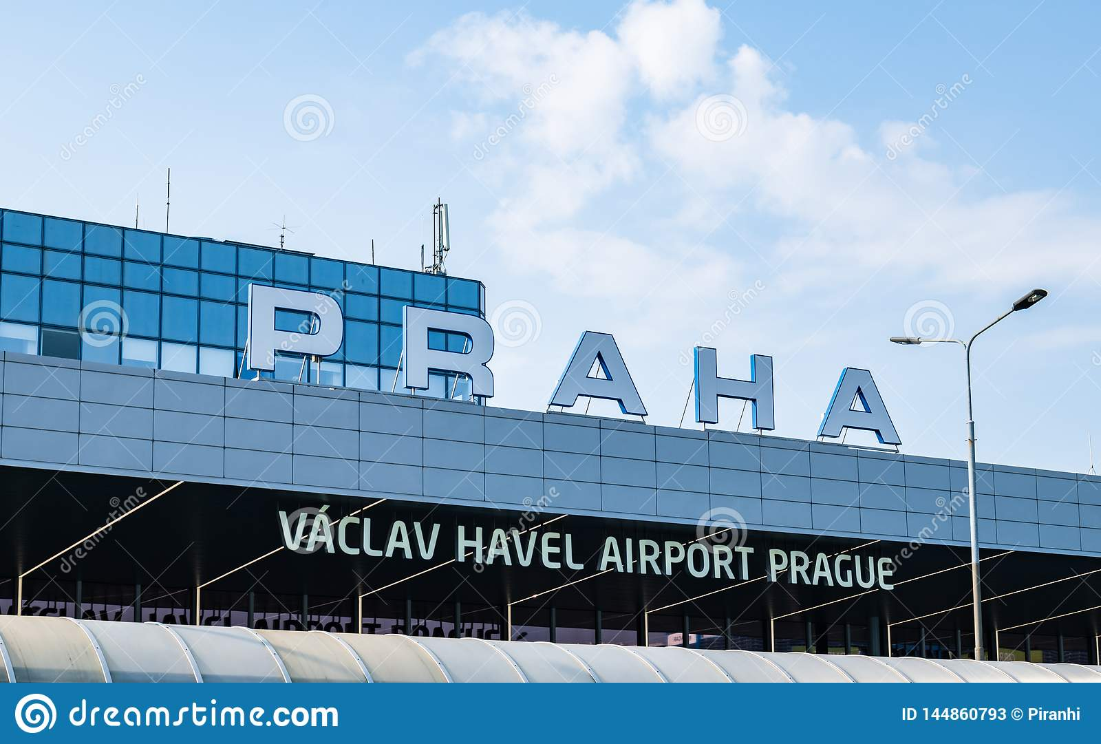 Prague International Airport - Terminal 1 - Sign and Logo - Taken on a bright sunny day in 2019