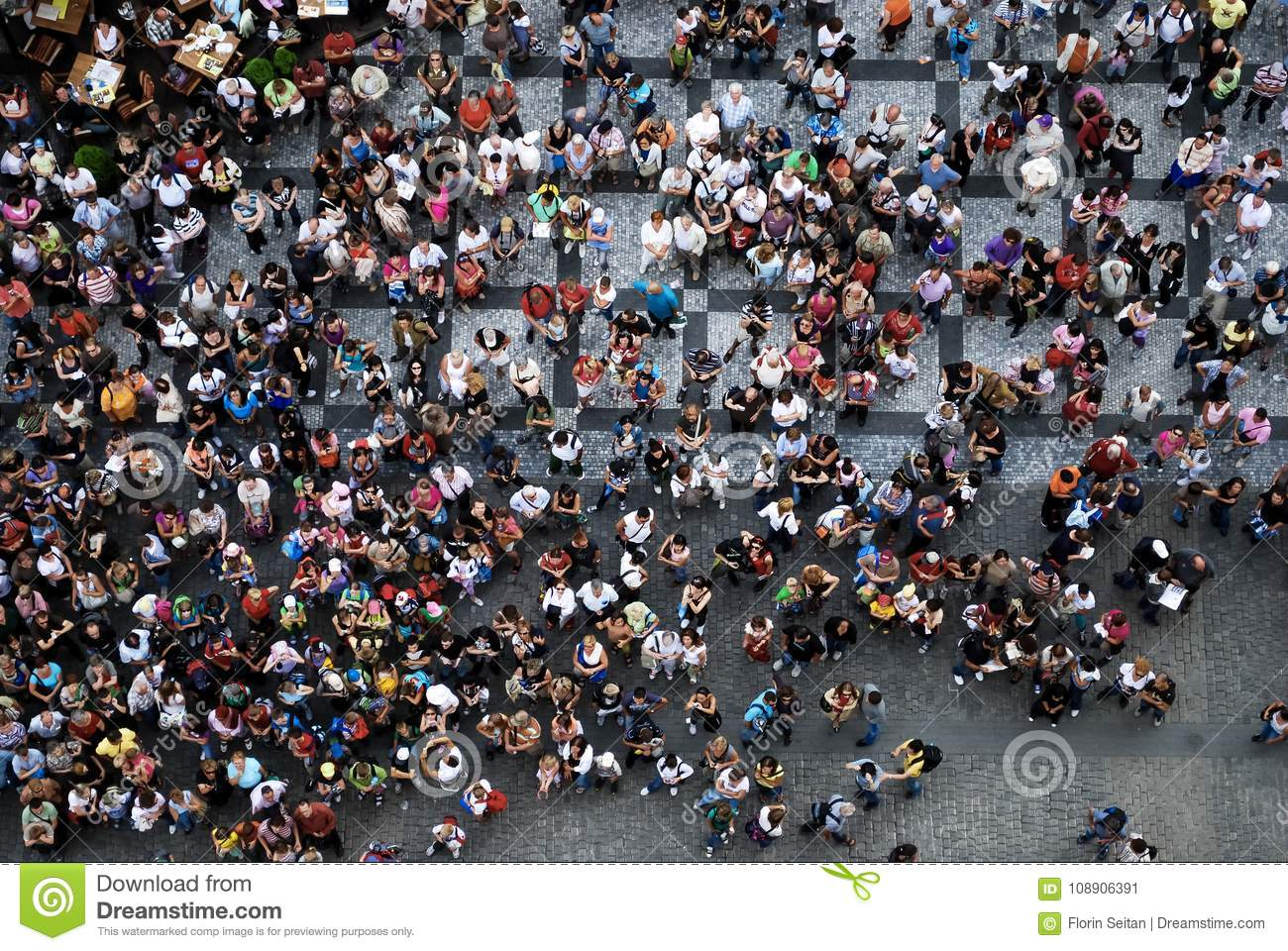 Download Aerial Photograph Of People Gathered In A Square Stock Image