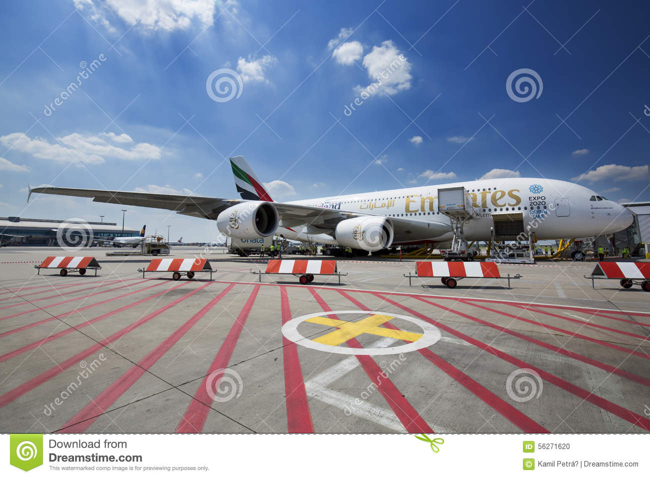 PRAGUE - July 1, 2015: Emirates Airbus A380 At Vaclav Havel
