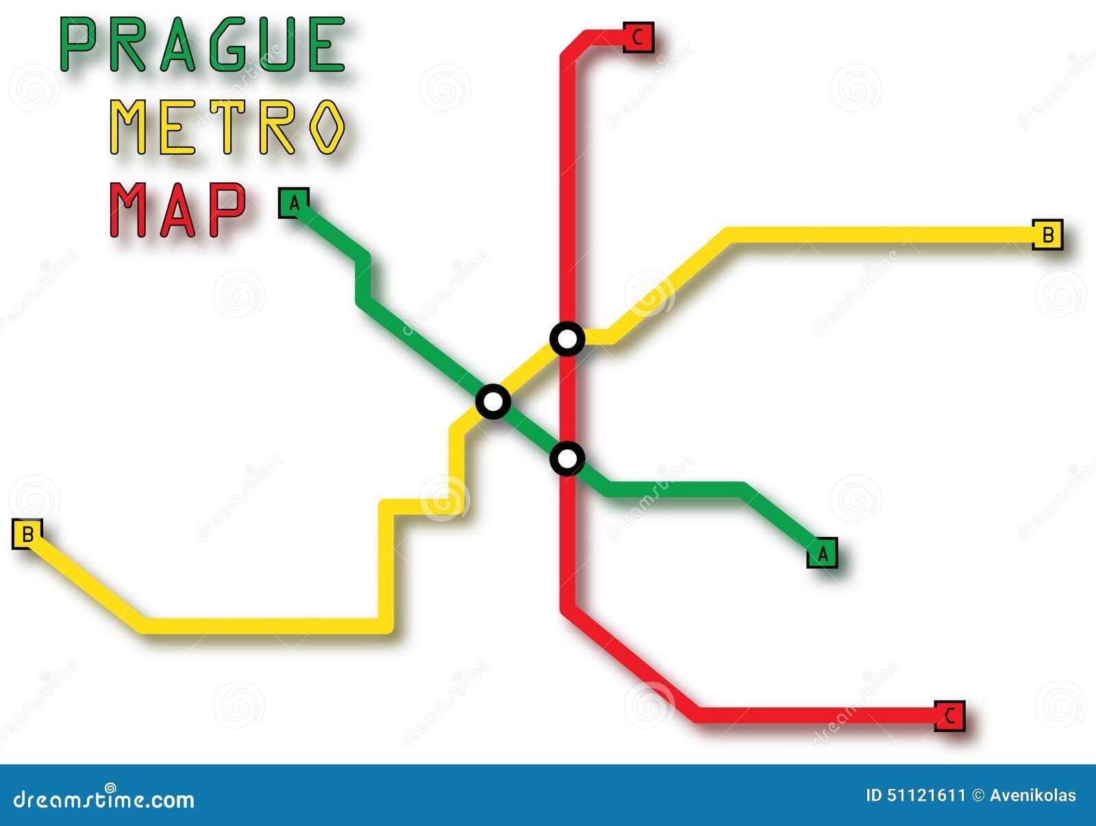 Prague Metro Map Stock Image Image Of Colors Words 51121611