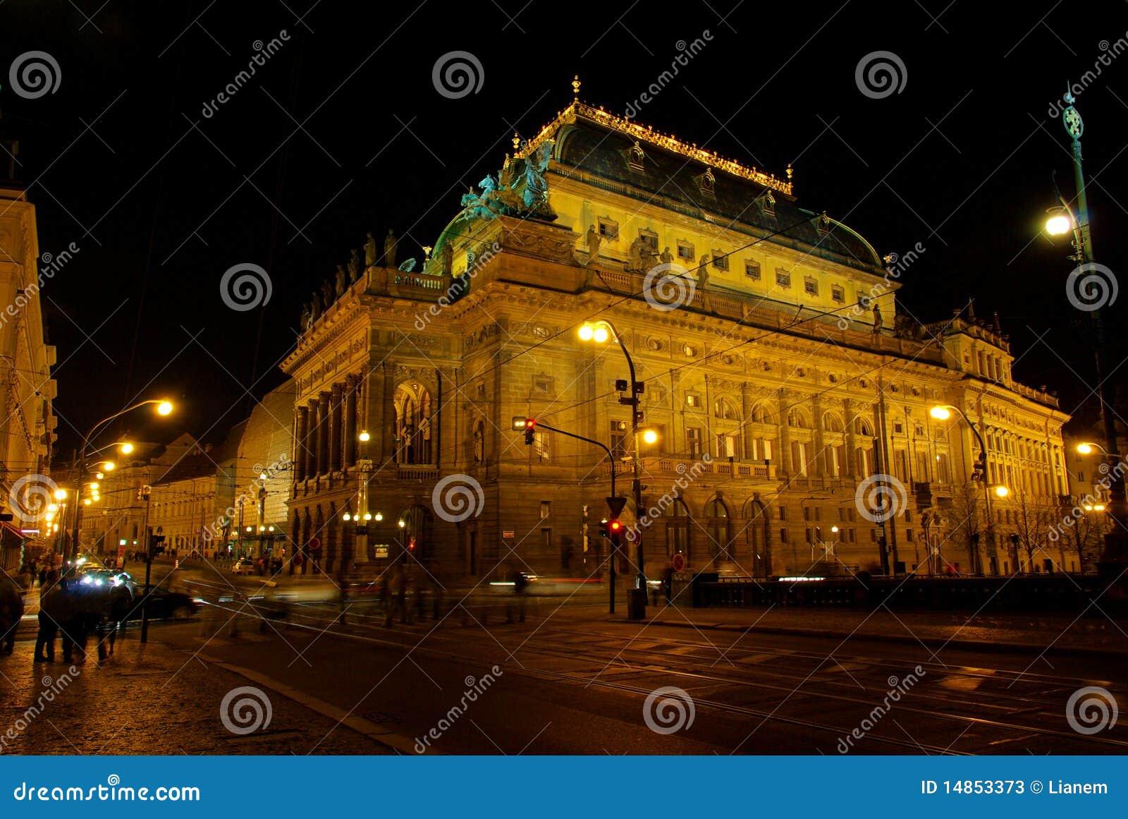 Prague national theatre night