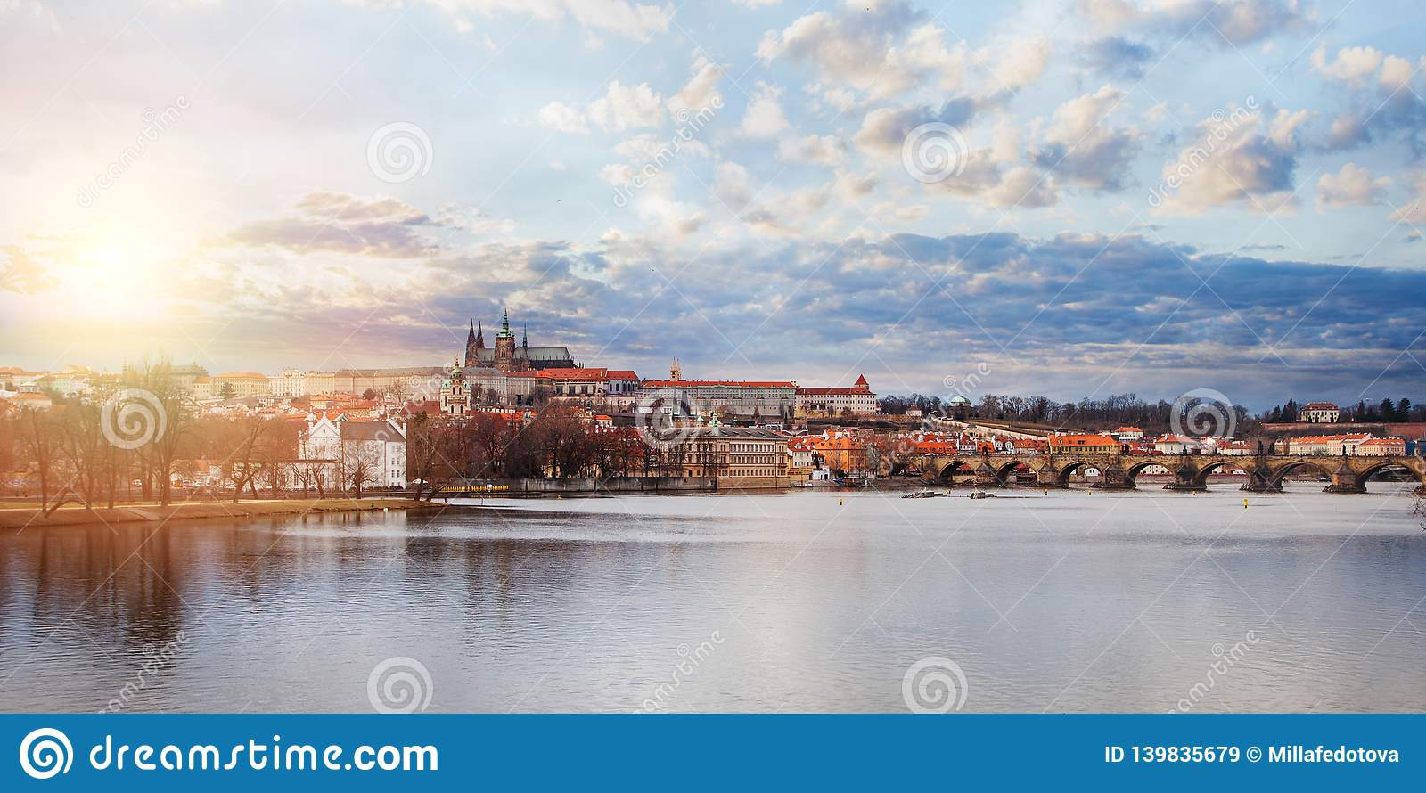 Prague panorama. View of Charles Bridge and Vltava in Prague Czech Republic. Prague landmarks