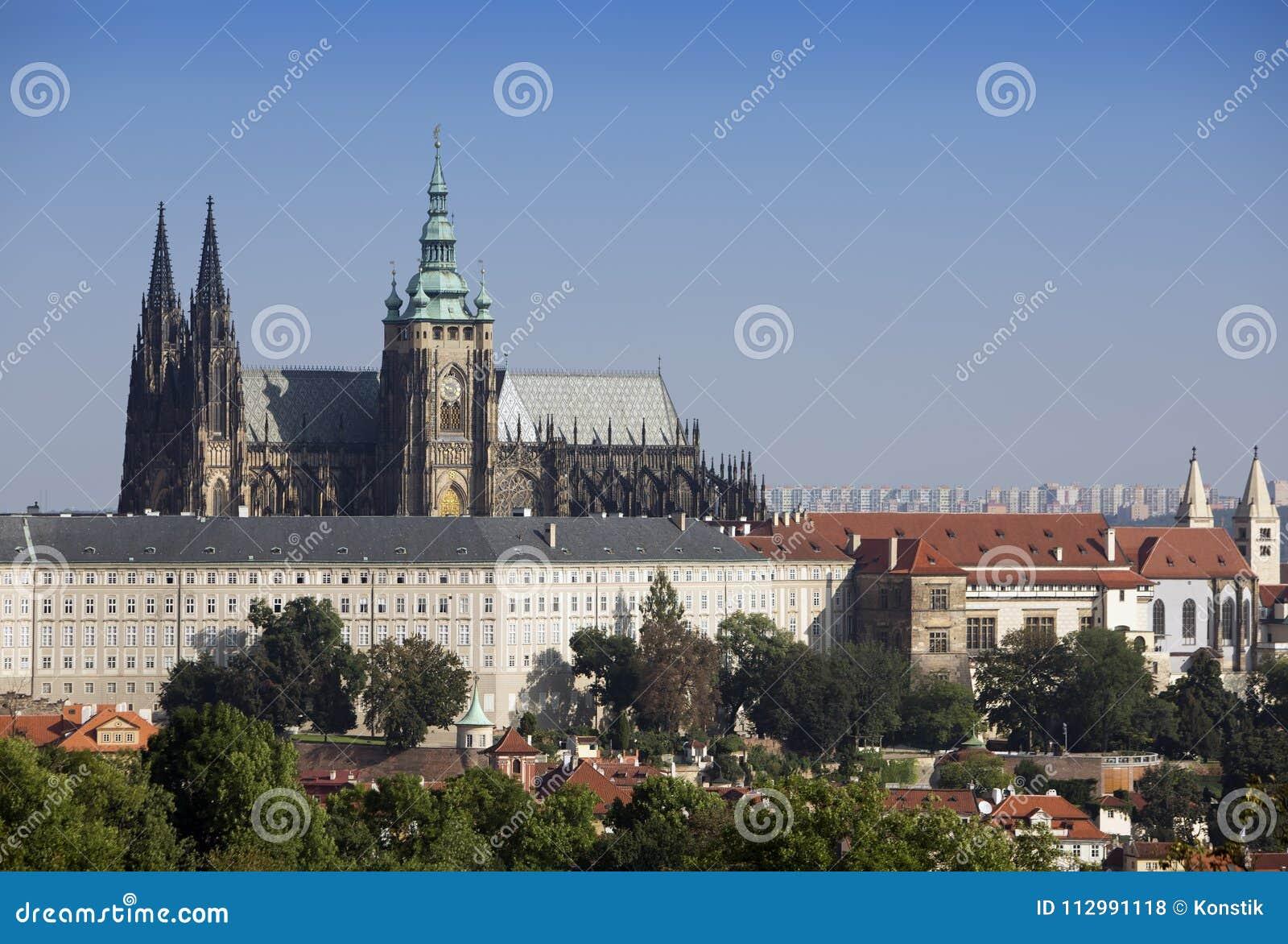 Prague. Saint Vitus cathedral,city landscape in sunny day