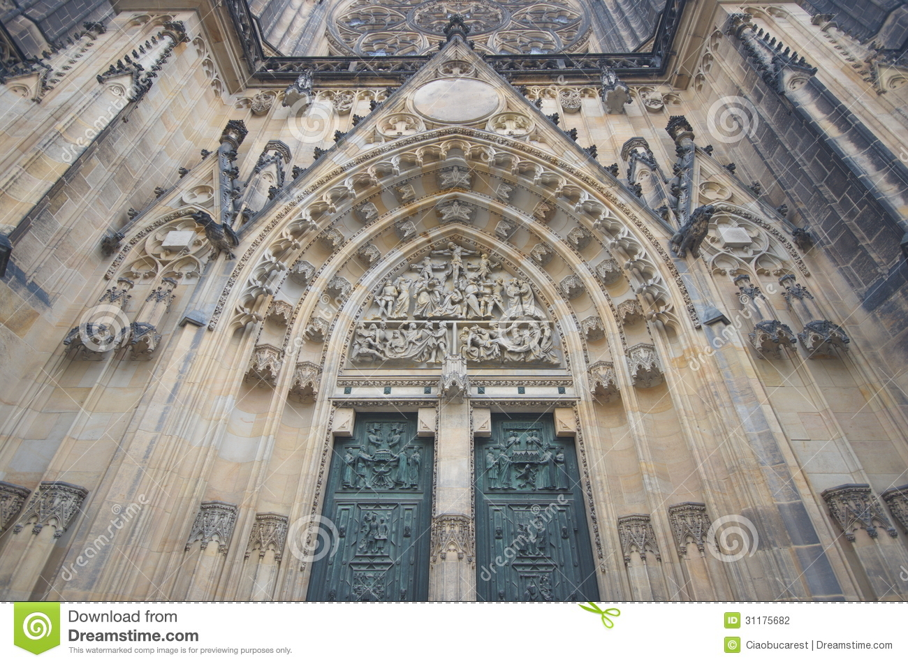 Prague old temple st vitus cathedral stock photo for Door z prague