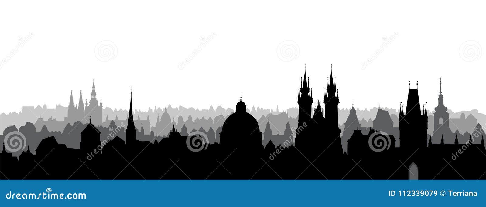Prague stad, tjeck Horisontsikt Cityscape med domkyrkagränsmärkebyggnad
