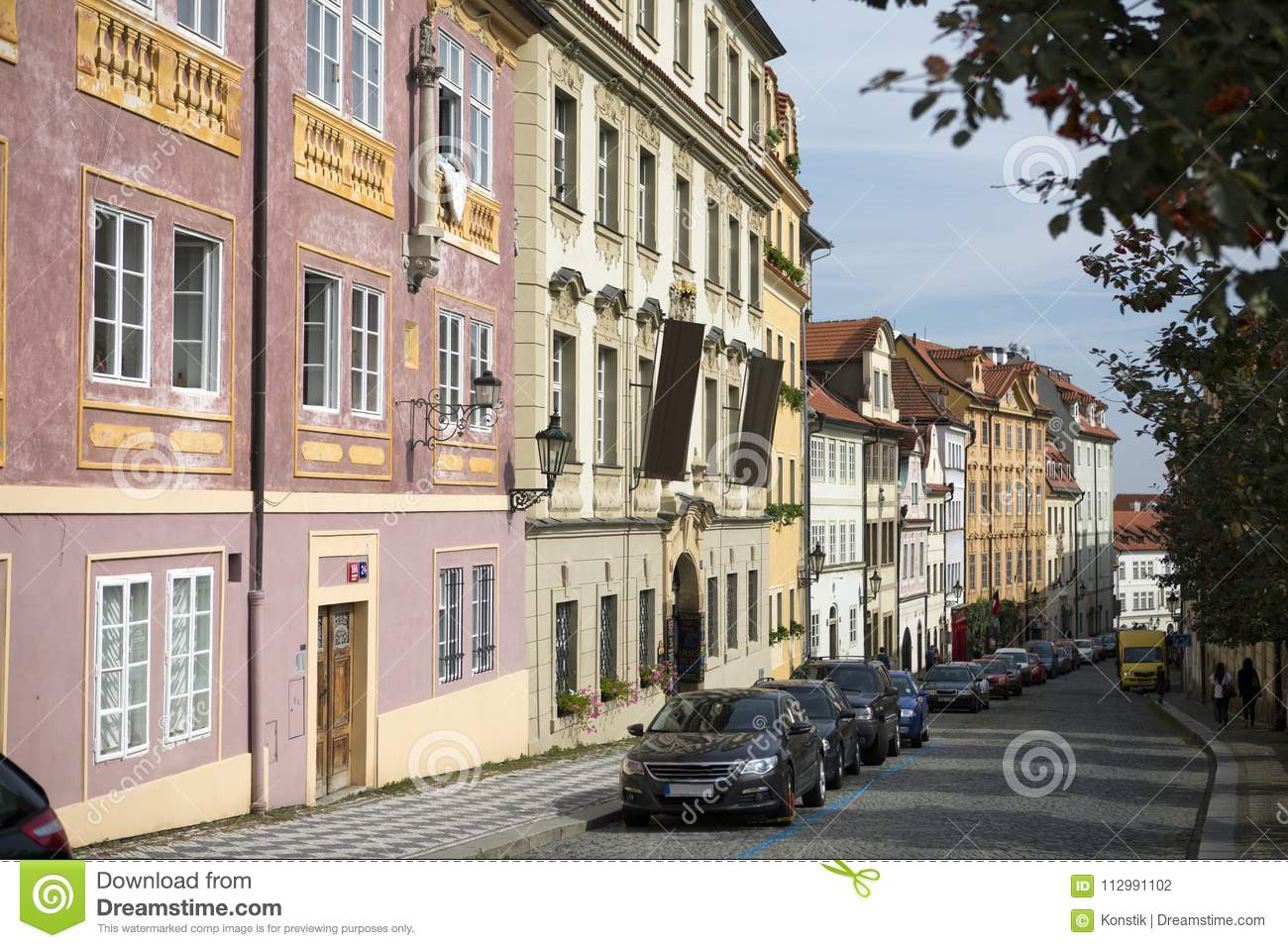 Prague. The street paved stone blocks in the old city