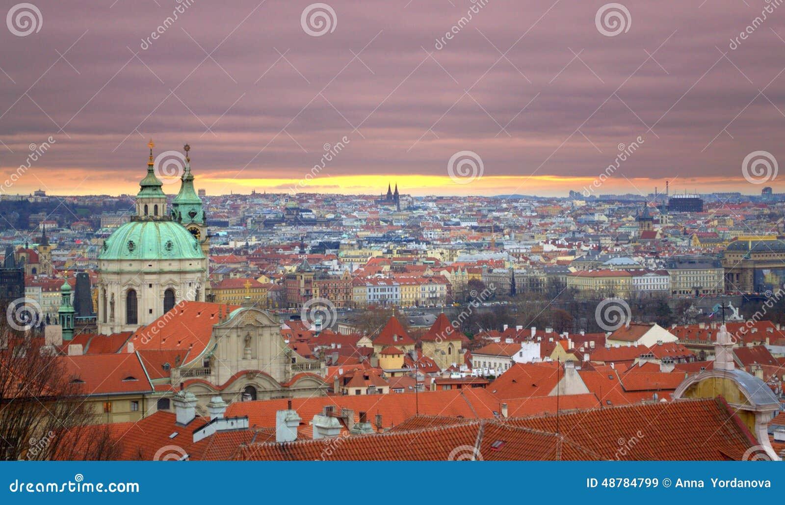 Prague sunset stock photo image 48784799 for Central prague