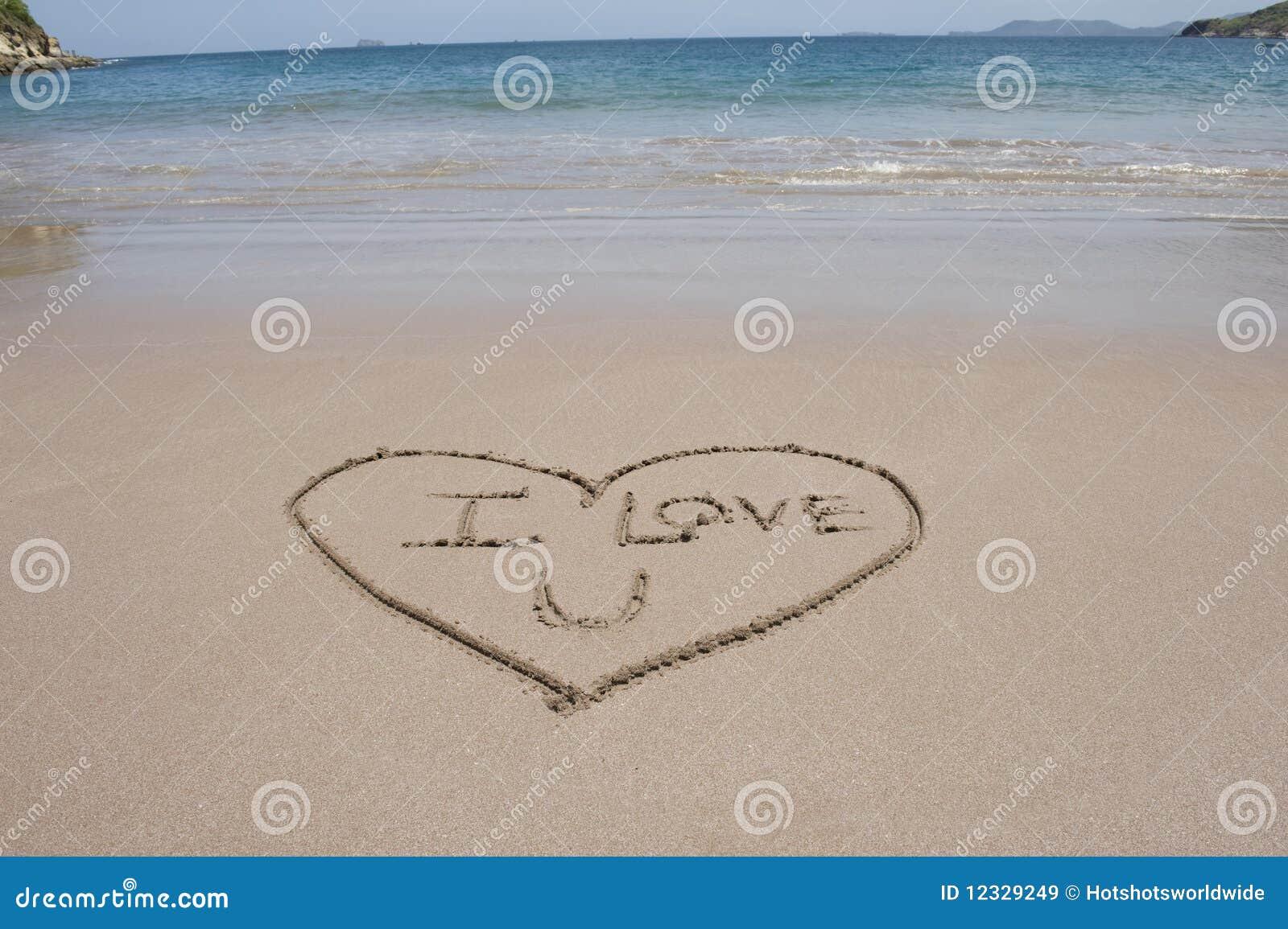 Eu Te Amo Escrito Na Areia Imagens De Stock Royalty Free: Praia Costa-Rica Do Coração Do Amor E Da Areia Das