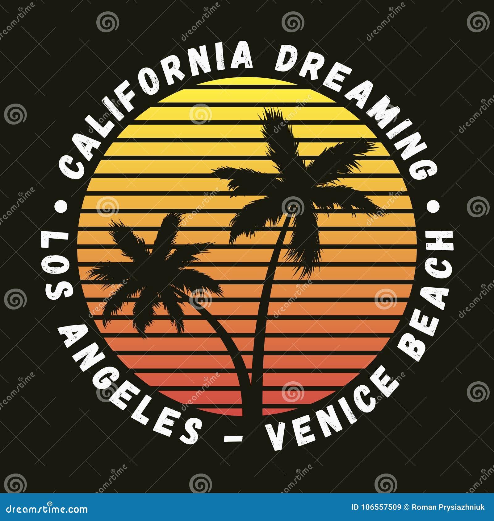 Praia de Califórnia, Los Angeles, Veneza - a tipografia para o projeto veste-se, t-shirt com palmeiras Gráficos para o fato Vetor