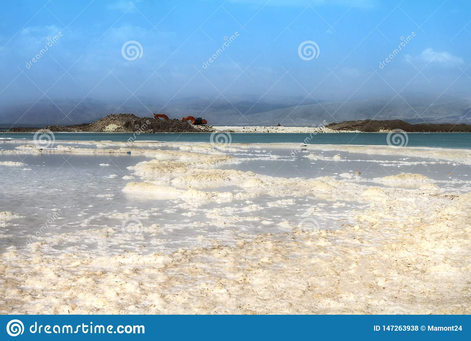 Praia de cristal do sal na costa de Mar Morto, Israel