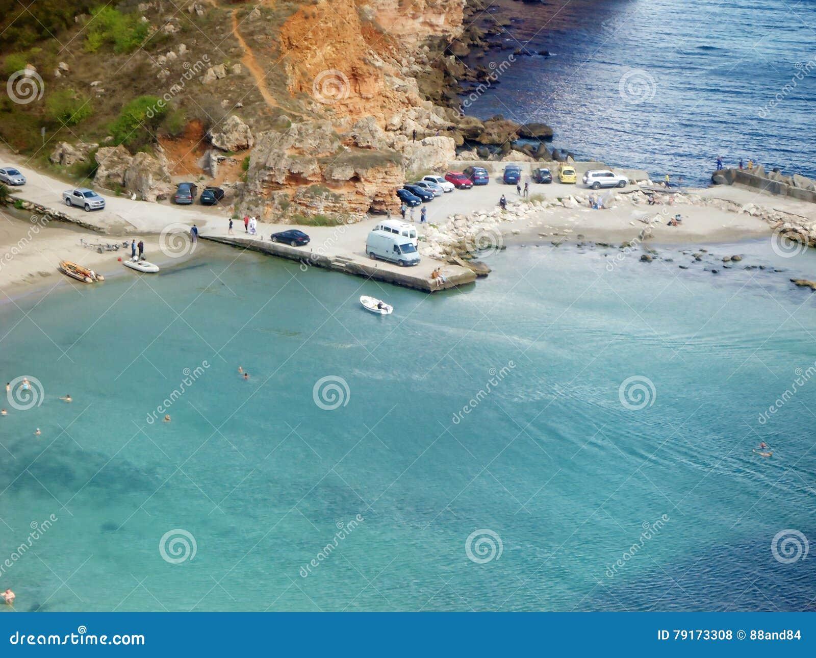 A praia de Ezerets e de lago Shabla em Bulgária