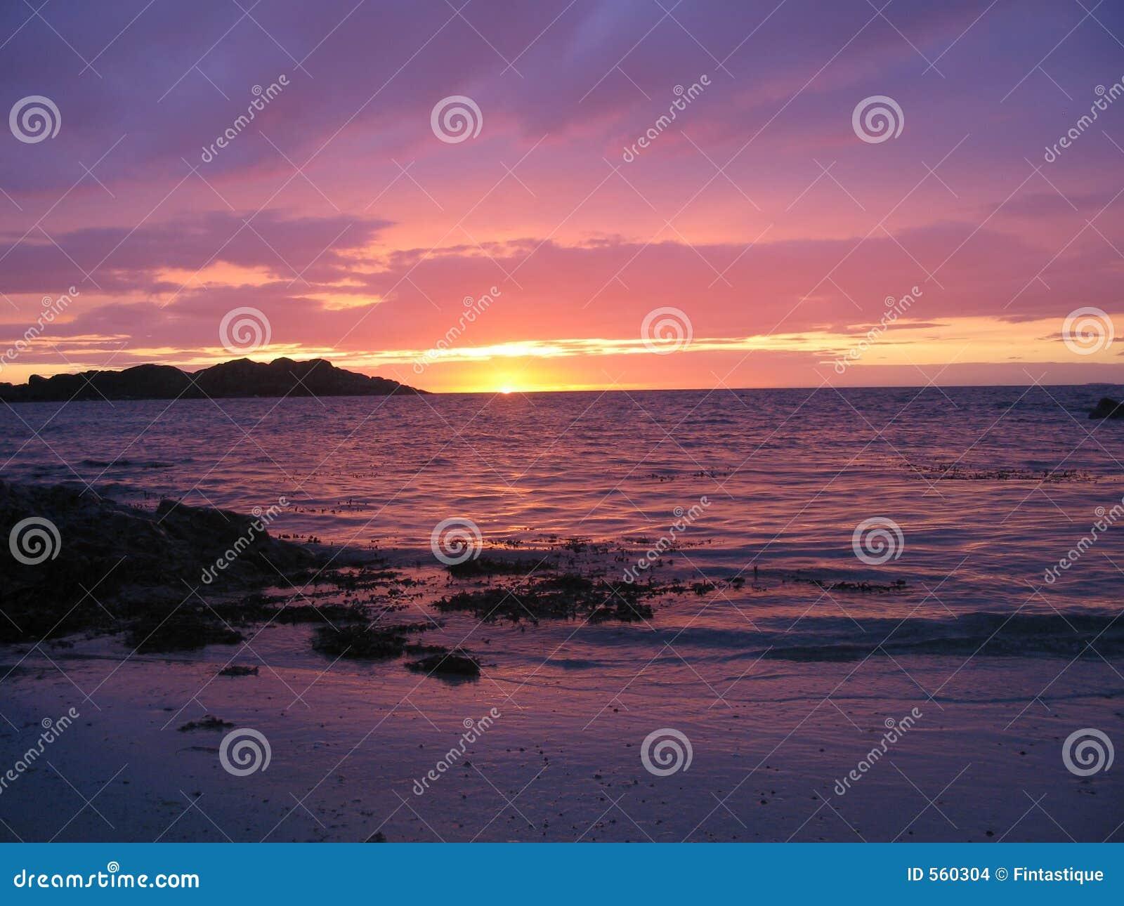 Praia de Iona no por do sol