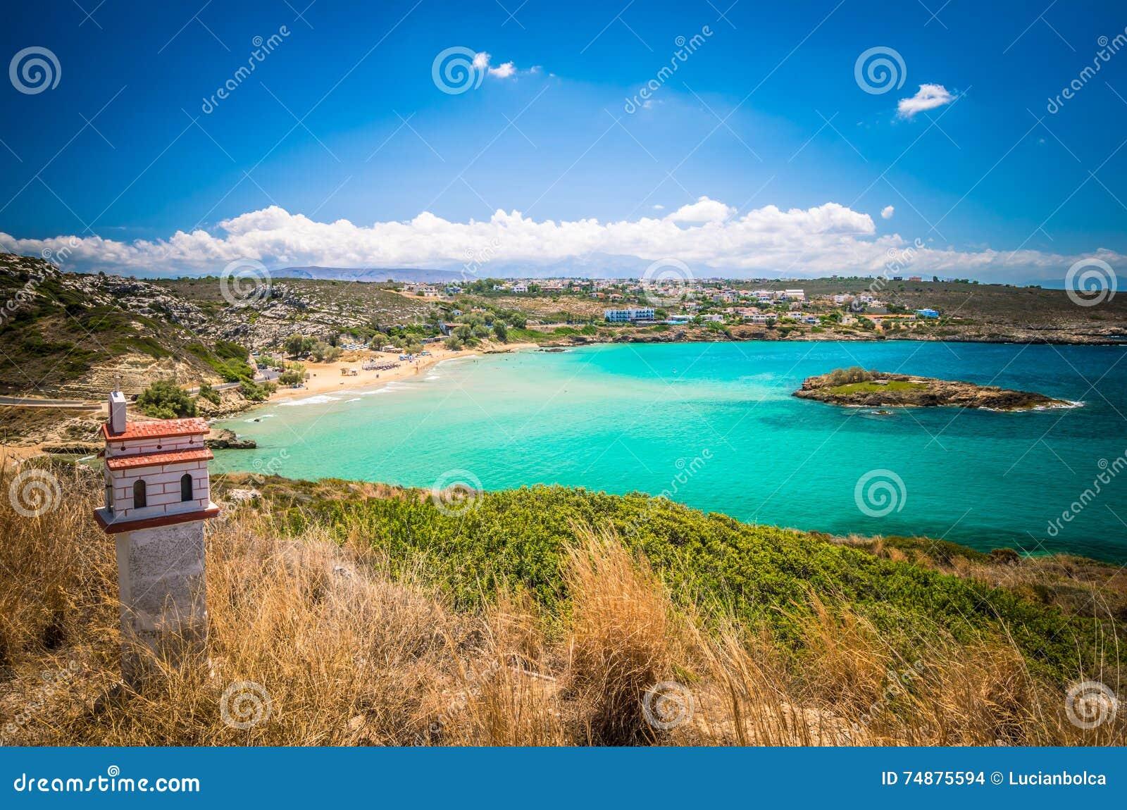 Praia de Kalathas, ilha da Creta, Grécia