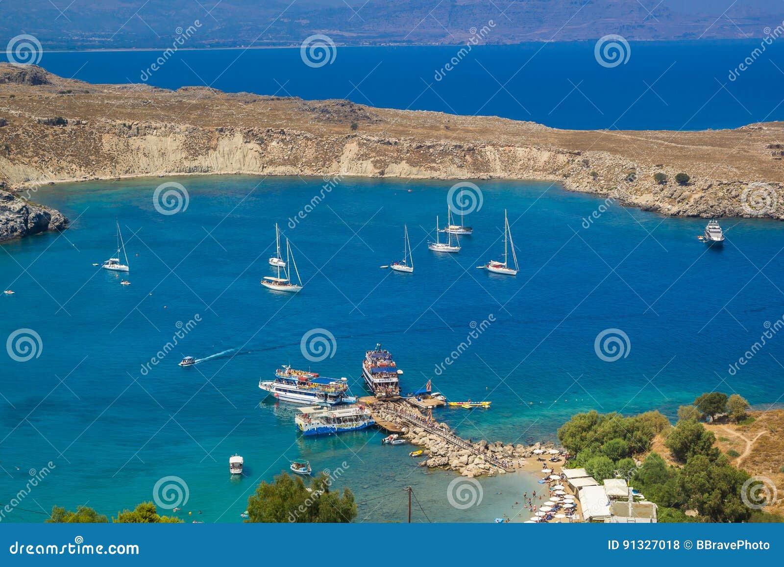 Praia de Lindos em Rhodes Island Rodos Aegean Region, Grécia