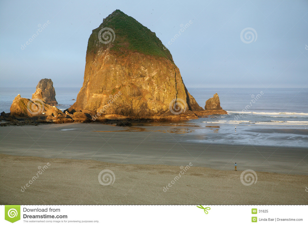Praia do canhão, rocha do monte de feno, Oregon
