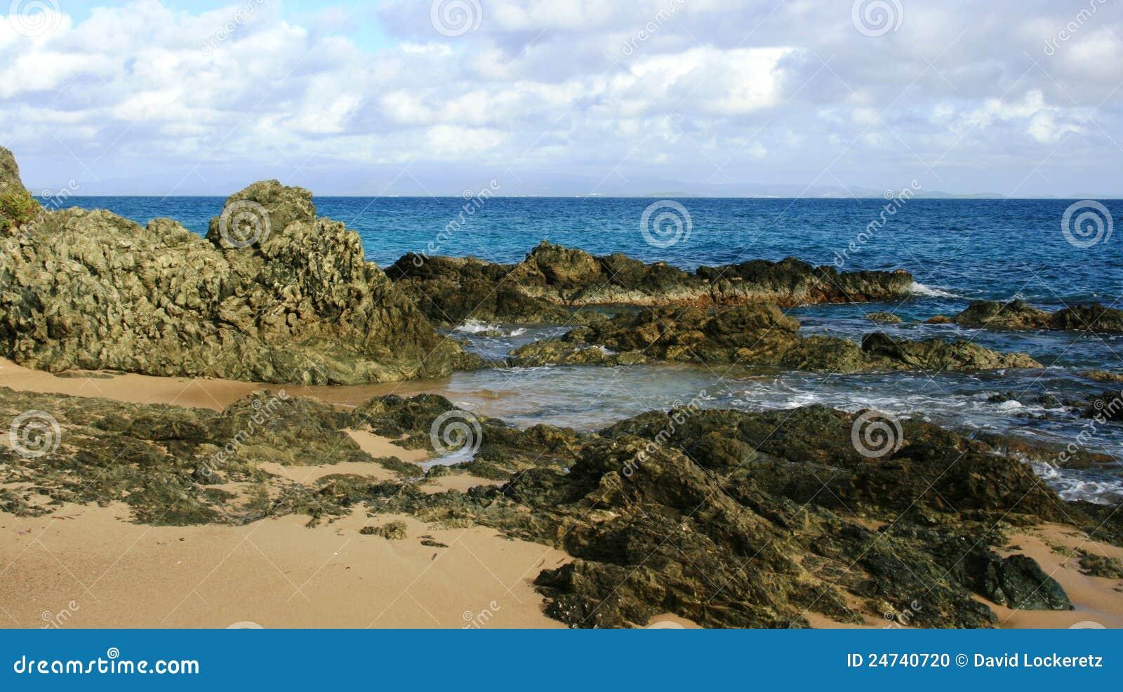 Praia do console de Vieques
