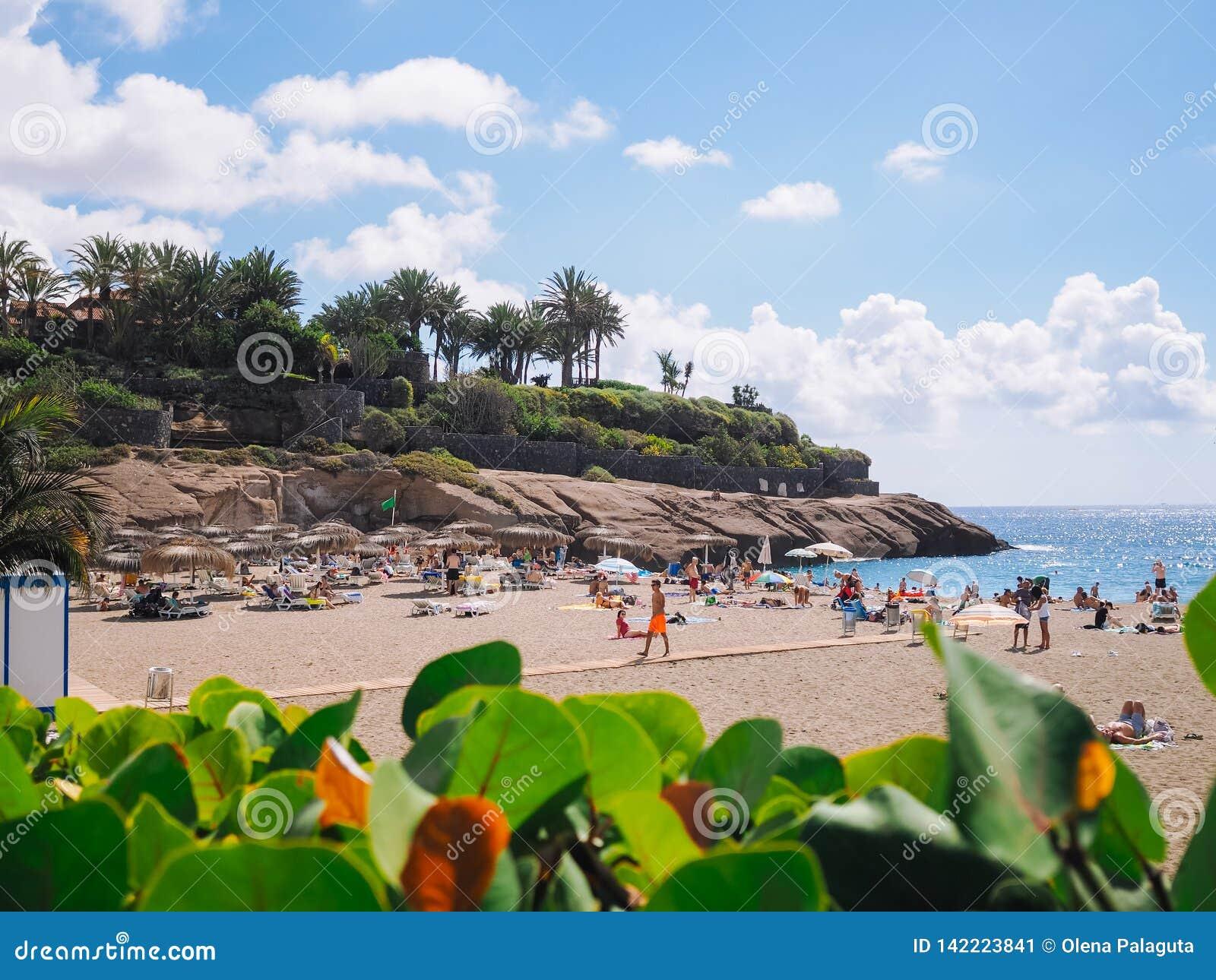 Praia do EL Duque em Costa Adeje Tenerife, Ilhas Canárias, Spain