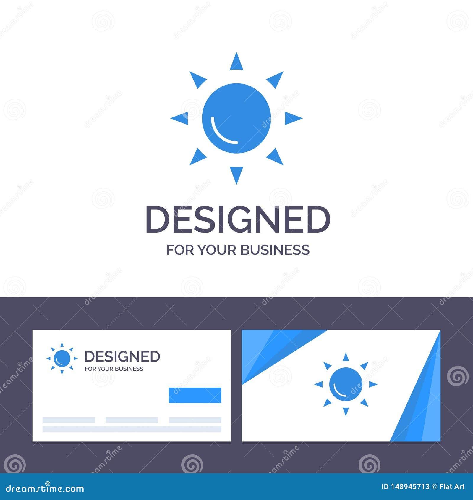 Praia do molde criativo do cartão e do logotipo, Shinning, ilustração do vetor de Sun